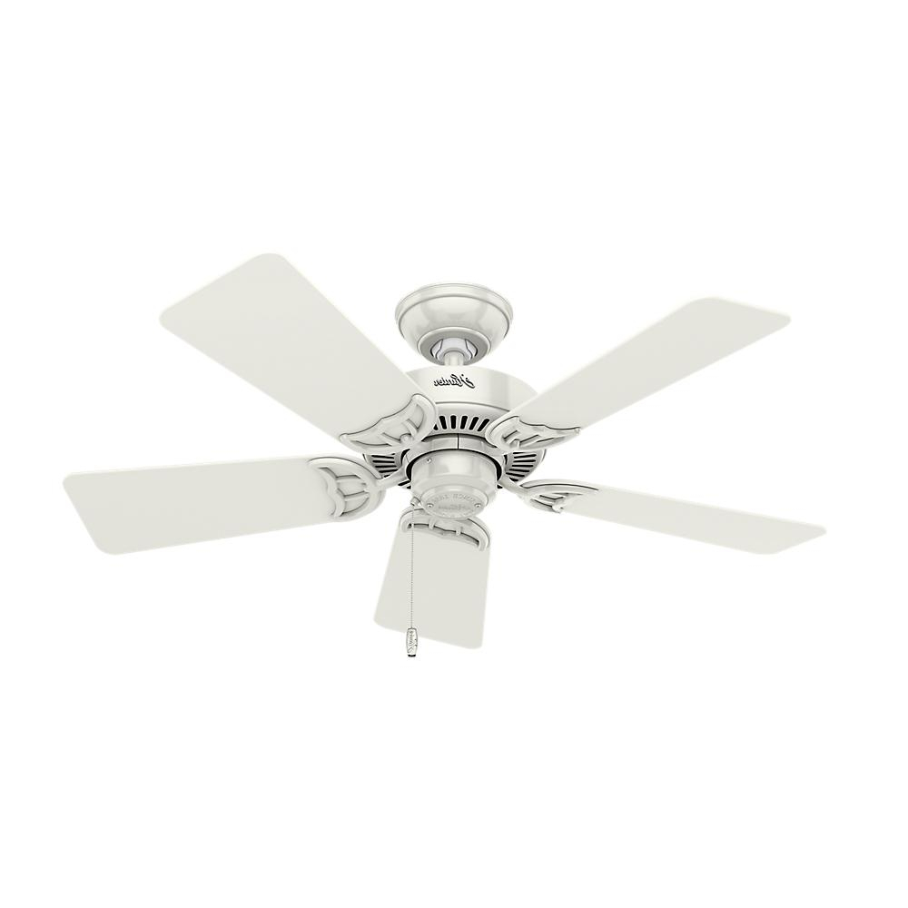 Southern Breeze 5 Blade Ceiling Fans Within Newest Hunter Southern Breeze 42 In. Indoor White Ceiling Fan Bundled With Light And Handheld Remote Control (Gallery 4 of 20)