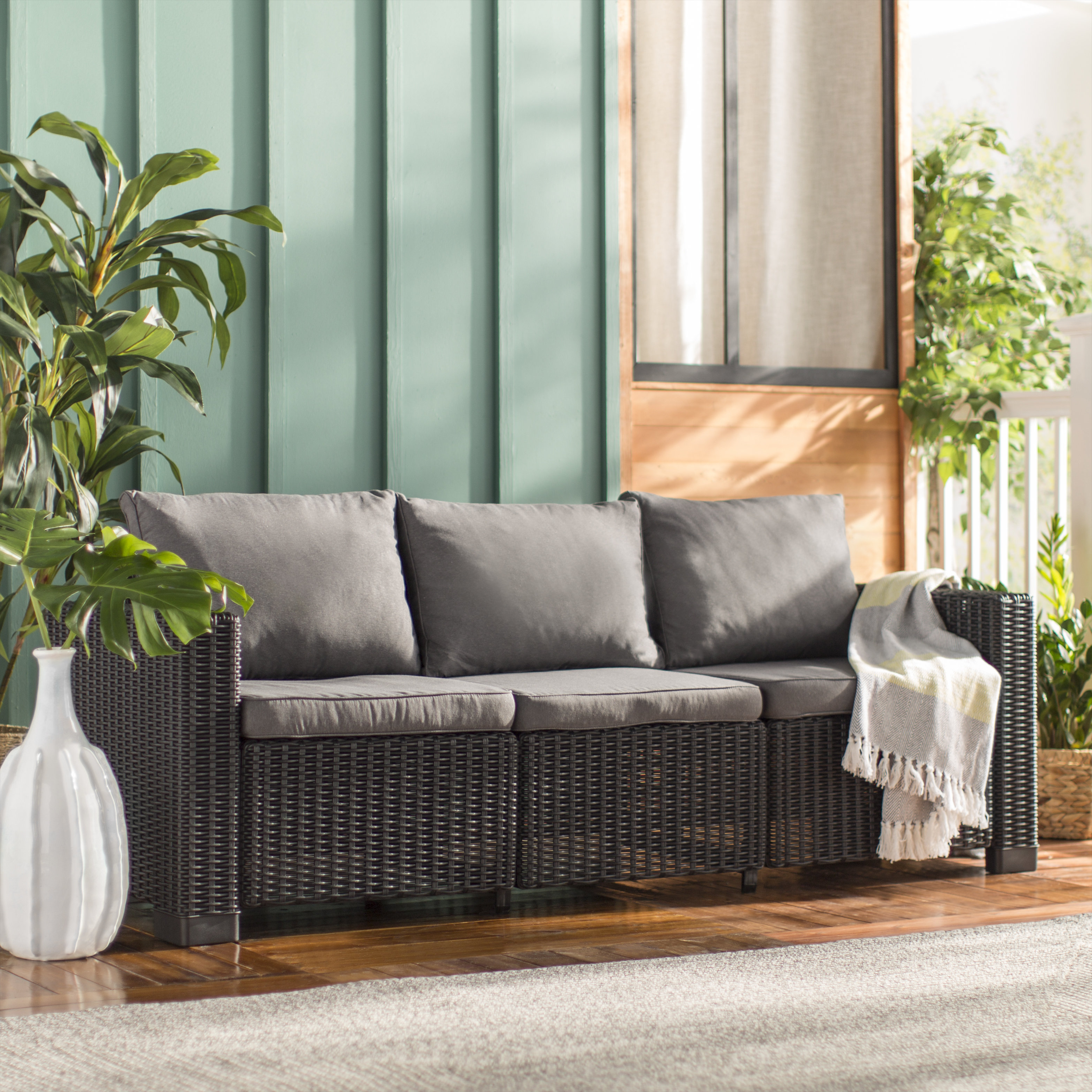 Stallcup Patio Sofa With Cushions Inside Most Popular Silloth Patio Sofas With Cushions (View 18 of 20)