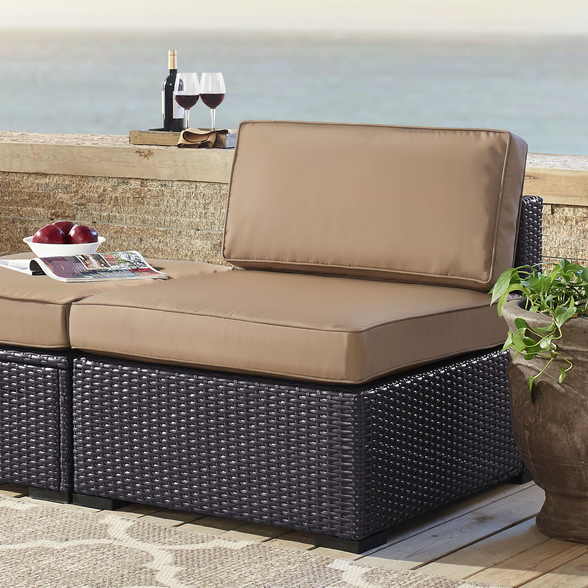 Stapleton Wicker Resin Patio Sofas With Cushions In Best And Newest Seaton Patio Chair With Cushions (View 11 of 20)