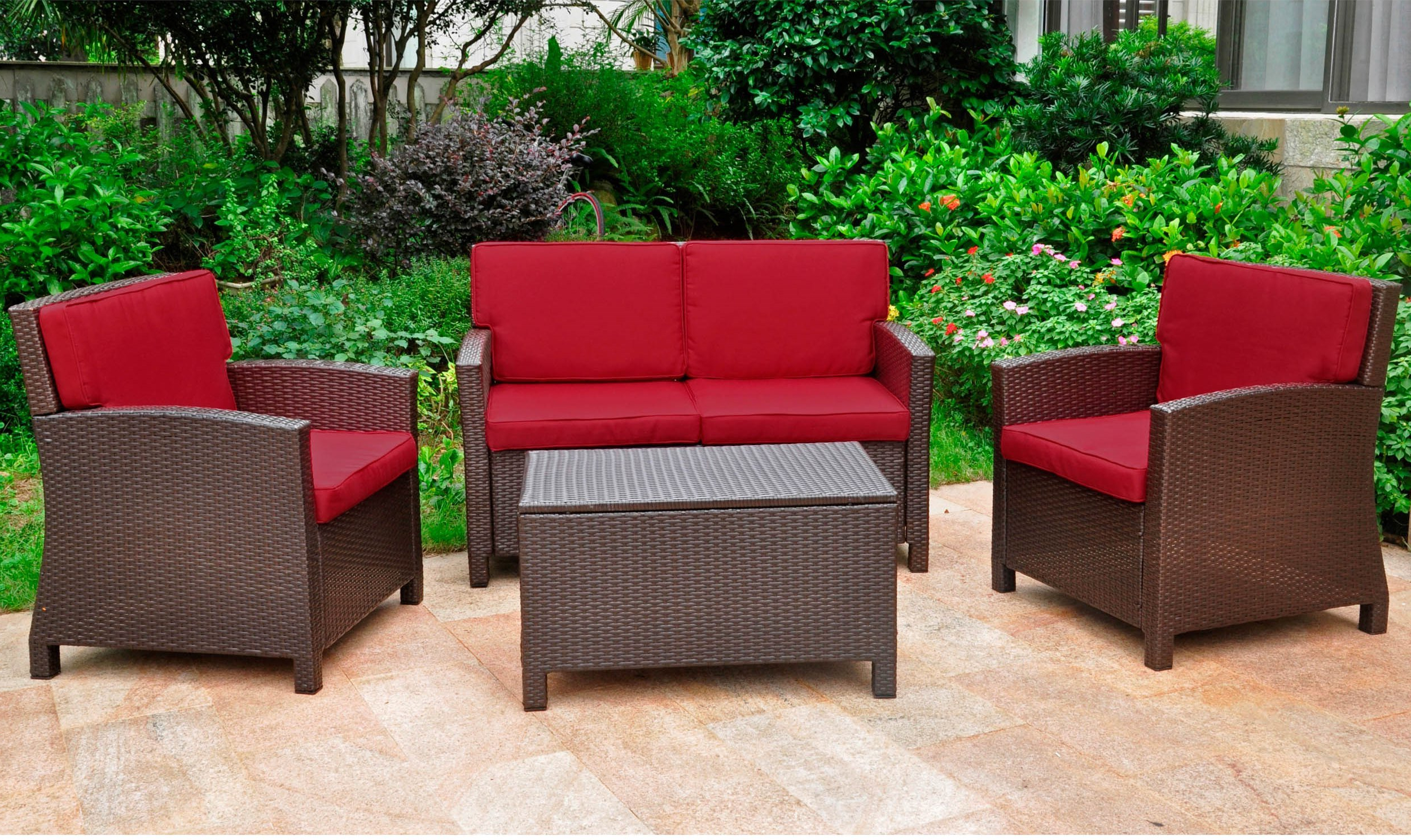 Stapleton Wicker Resin Patio Sofas With Cushions Intended For Most Popular Stapleton 4 Piece Sofa Set With Cushions (View 13 of 20)