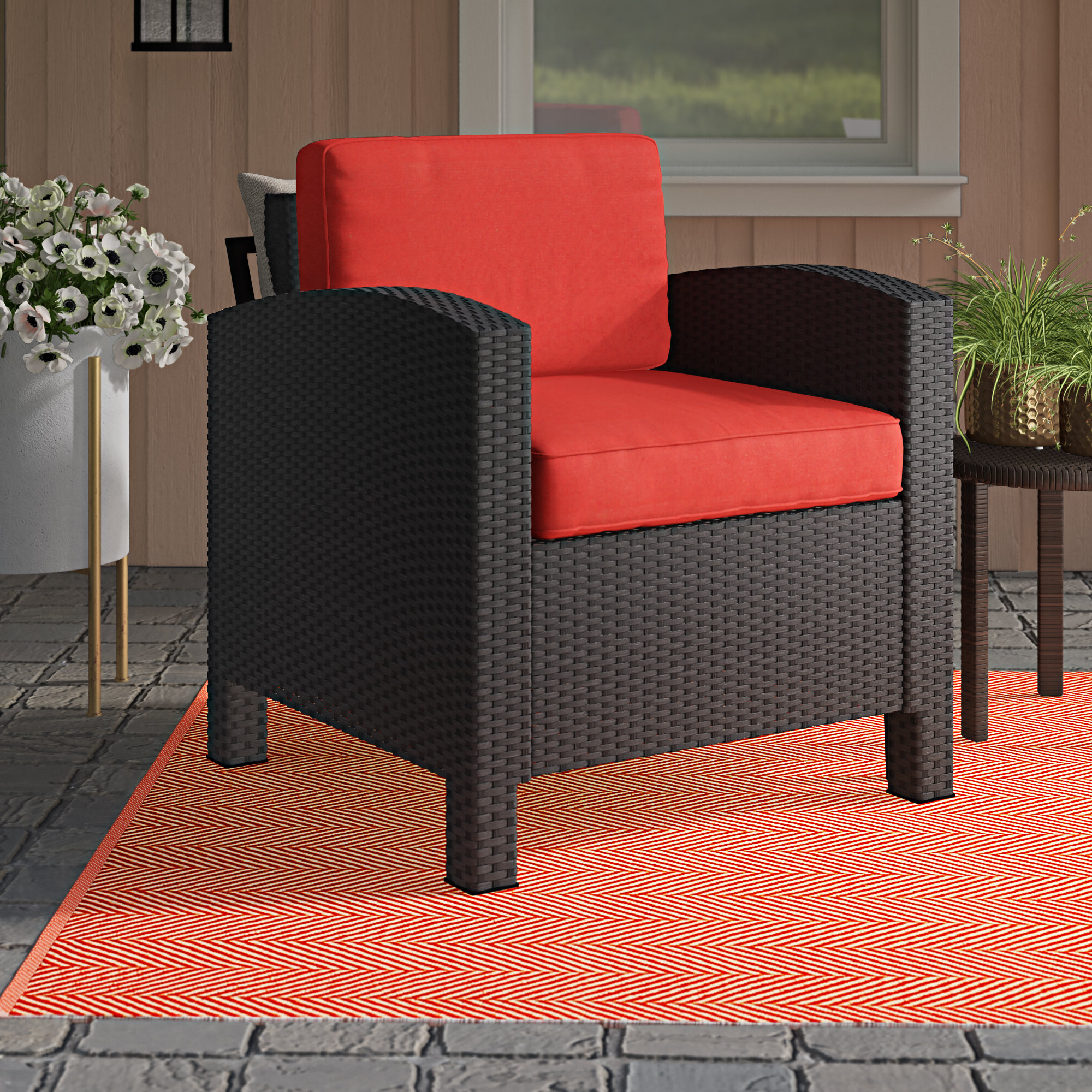Stapleton Wicker Resin Patio Sofas With Cushions Intended For Well Known Katzer Wicker Resin Aluminum Contemporary Patio Chair With Cushion (View 14 of 20)