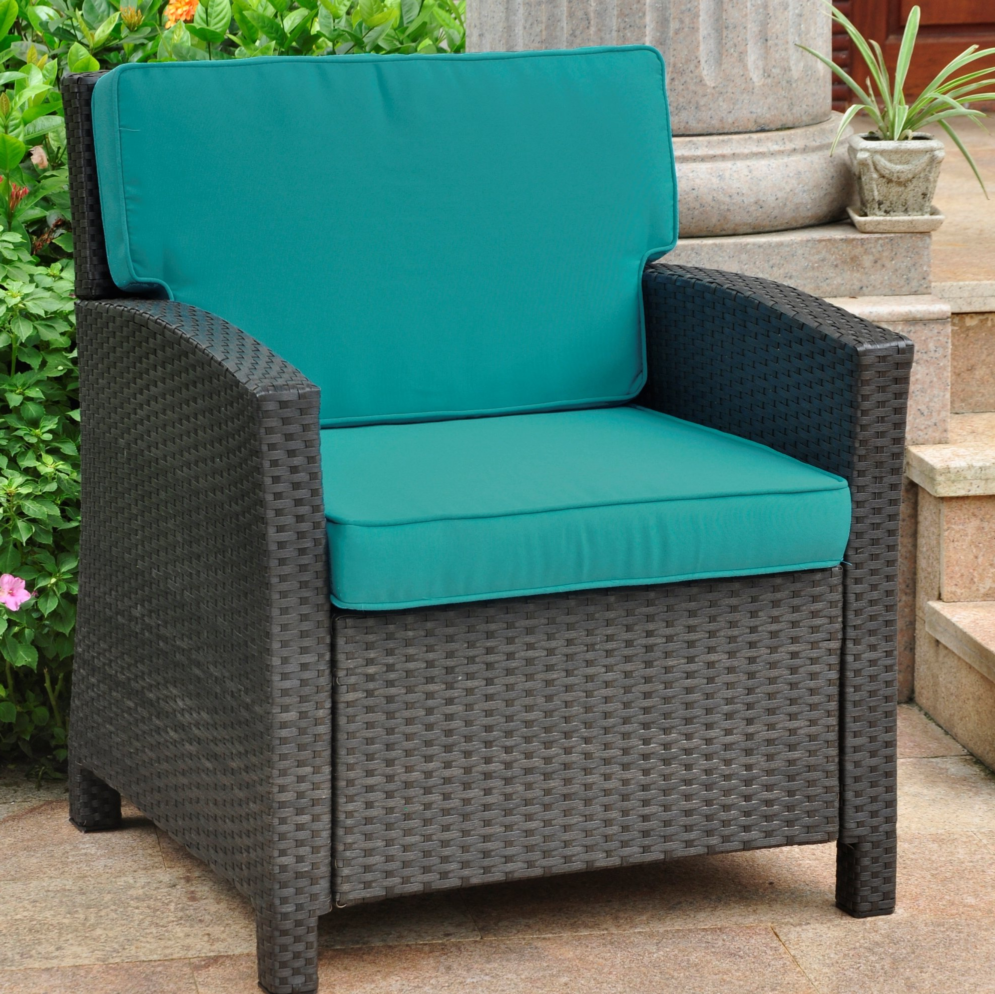 Stapleton Wicker Resin Patio Sofas With Cushions With Regard To 2020 Charlton Home Stapleton Wicker Resin Contemporary Patio Chair With Cushion (View 6 of 20)