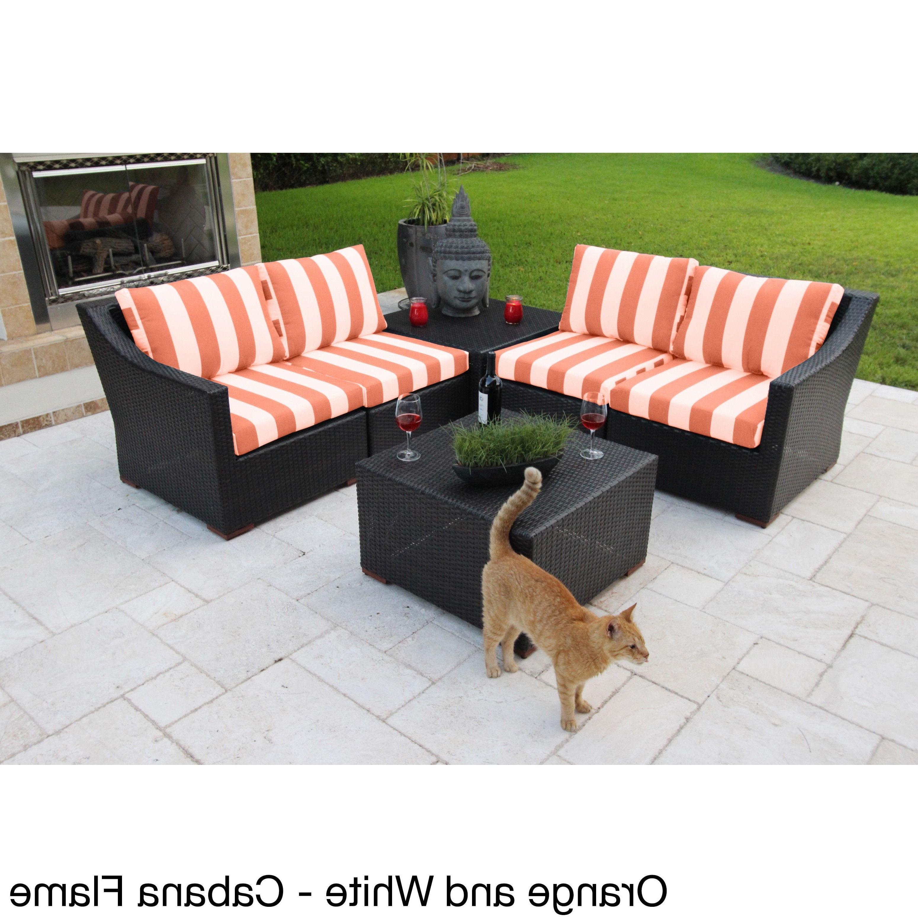 Stockwell Patio Sofas With Cushions Inside Favorite Anne 6 Piece Deep Seating Sectional Set With Sunbrella (View 14 of 20)