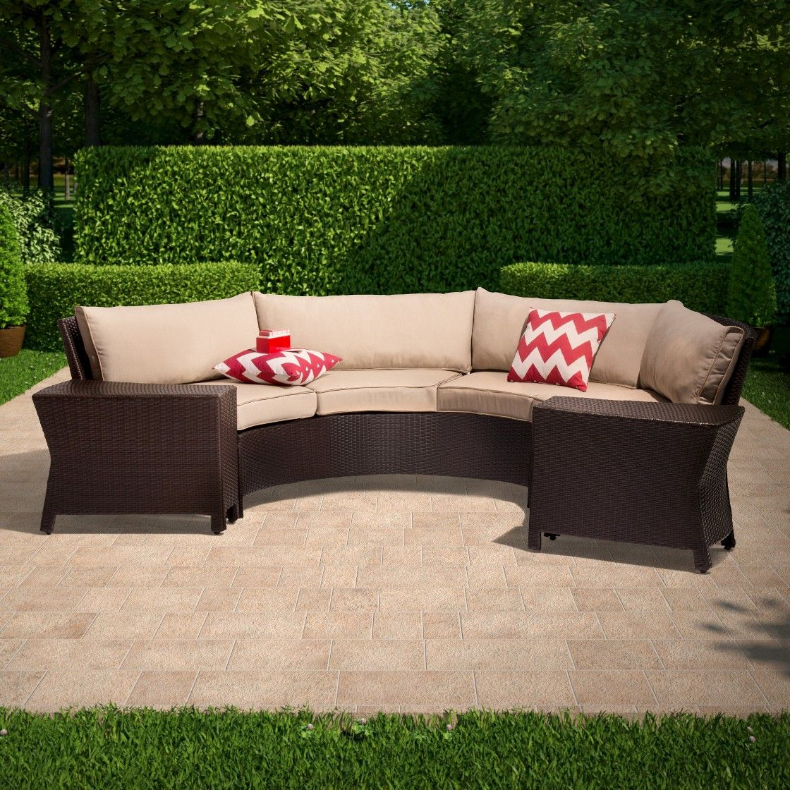 Stockwell Patio Sofas With Cushions Pertaining To Newest Threshold Harrison 6 Piece Wicker Sectional Patio Seating (View 10 of 20)