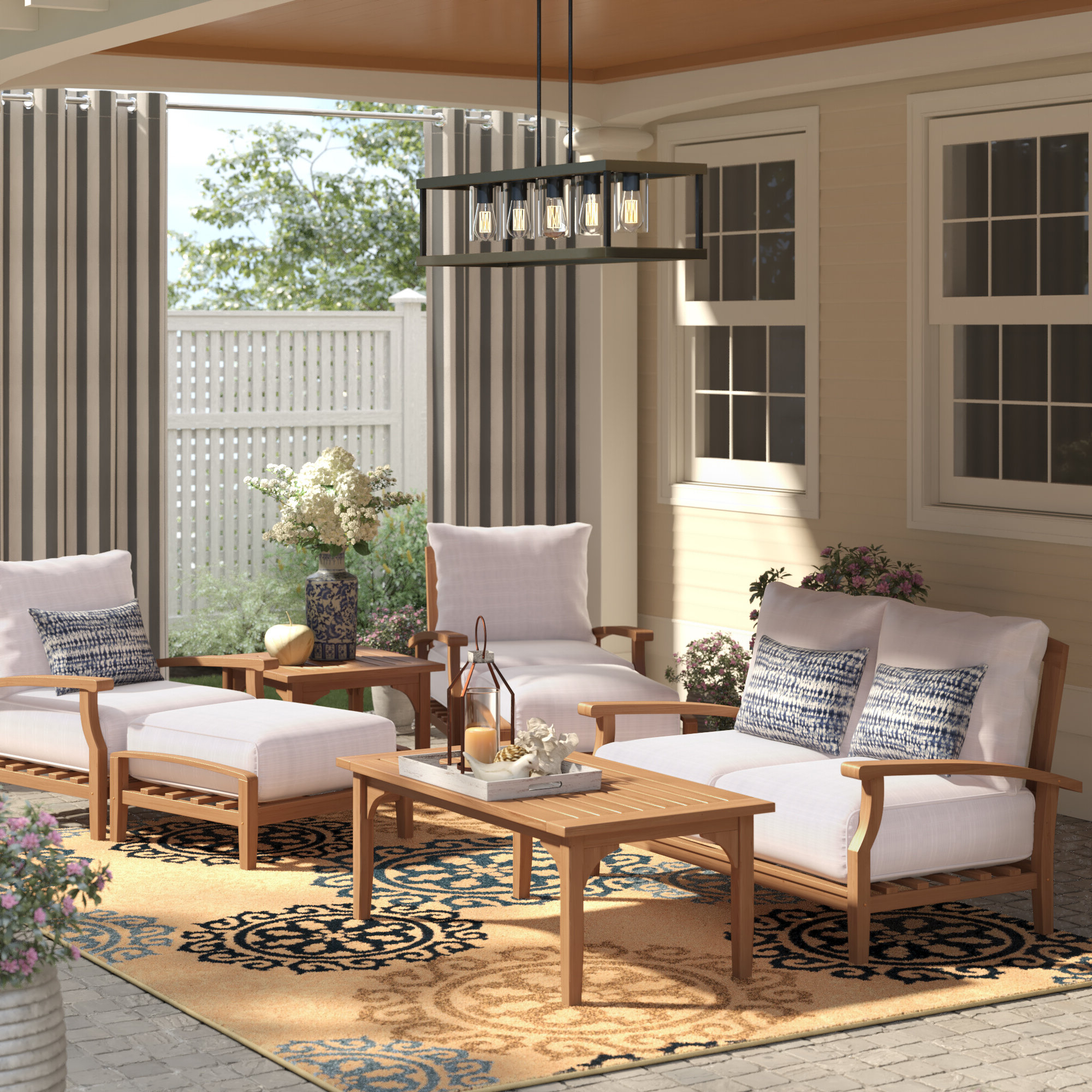 Summerton 7 Piece Teak Sofa Seating Group With Cushions Inside Popular Summerton Teak Patio Sofas With Cushions (View 14 of 20)