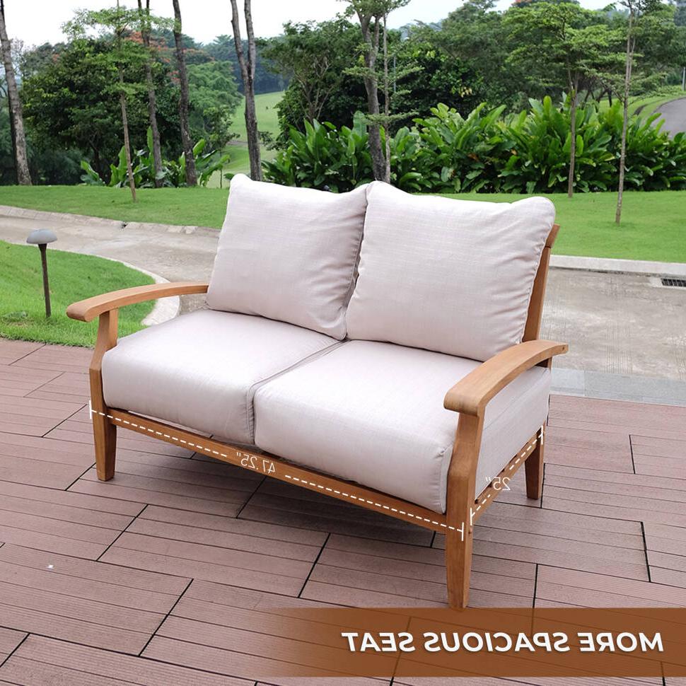 Summerton Teak Loveseat With Cushions Within Famous Brunswick Teak Loveseats With Cushions (View 19 of 20)