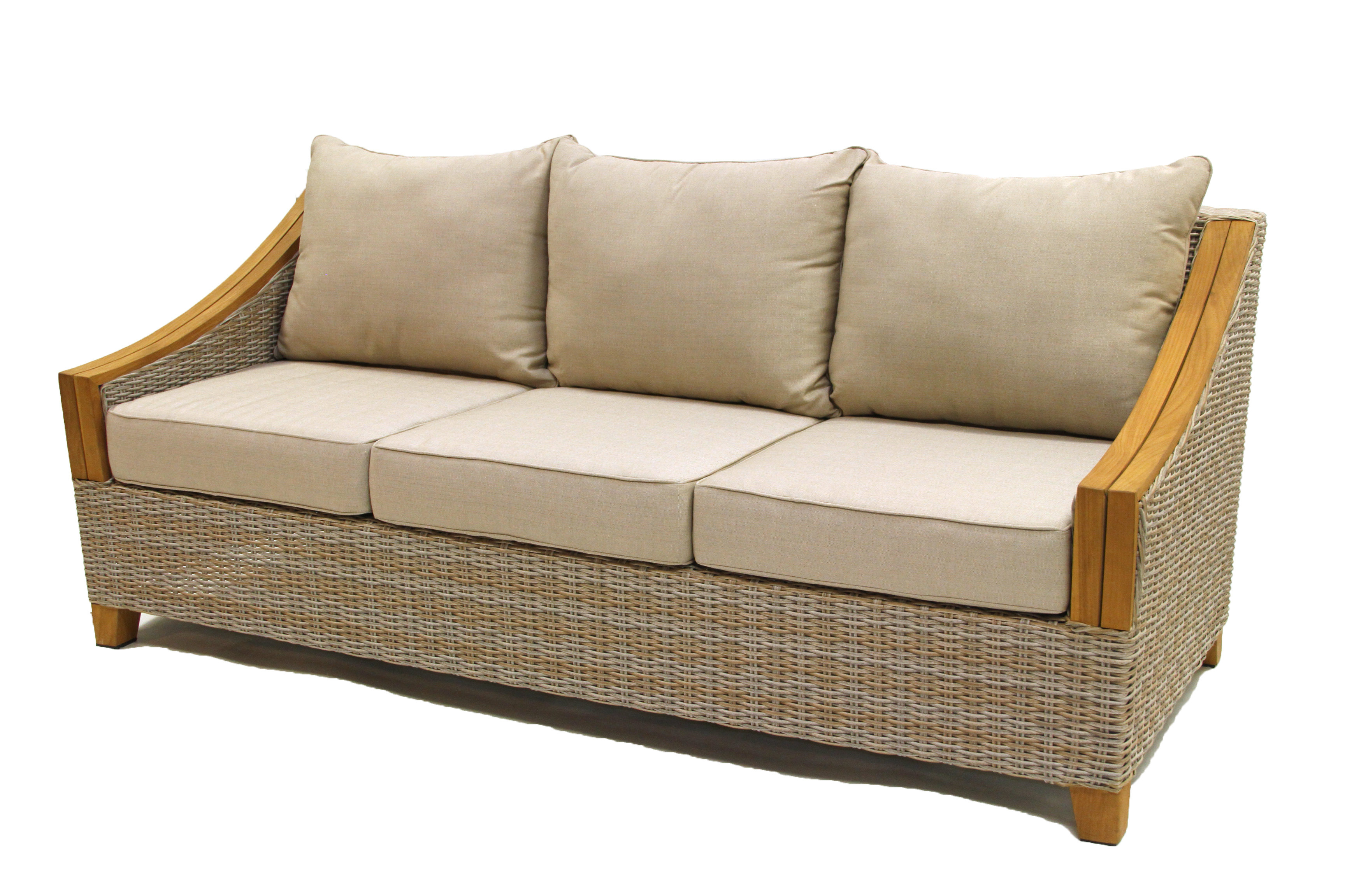 Summerton Teak Loveseats With Cushions With Most Up To Date Kincaid Teak Patio Sofa With Sunbrella Cushions (View 16 of 20)