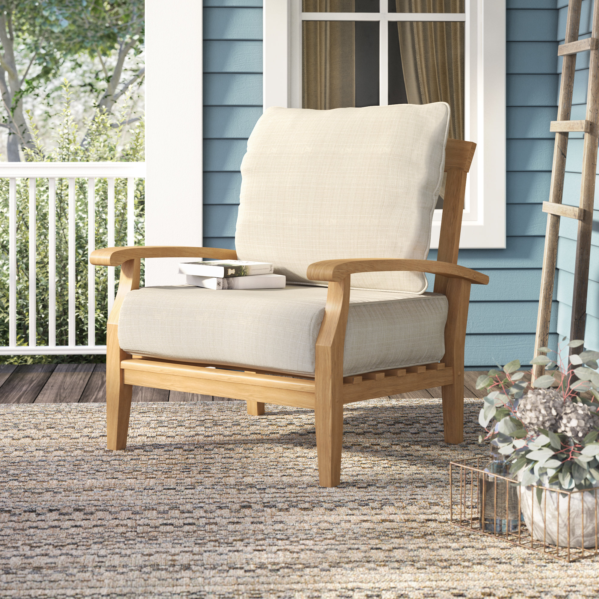 Summerton Teak Patio Chair With Cushions Throughout Famous Summerton Teak Patio Sofas With Cushions (View 15 of 20)