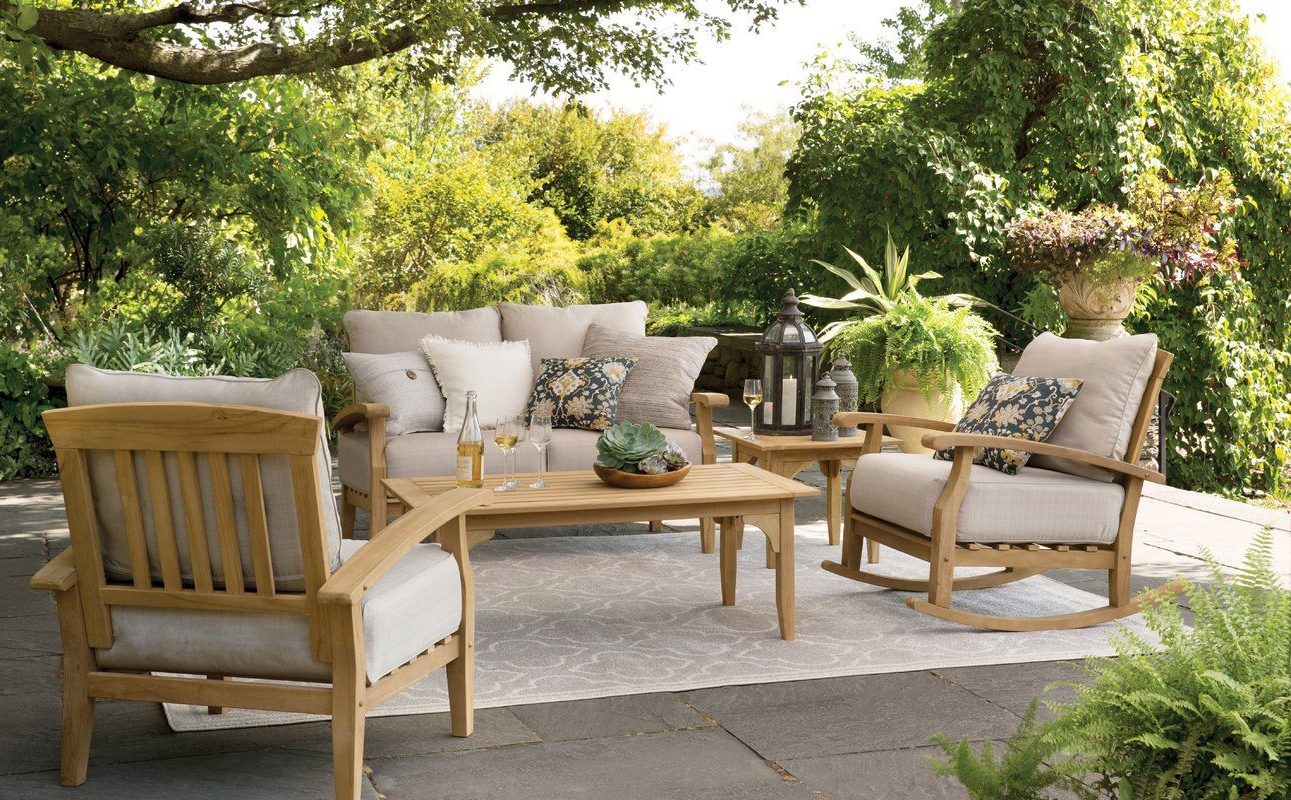 Summerton Teak Patio Sofas With Cushions Intended For Current Summerton Teak Rocking Chair With Cushions (View 5 of 20)