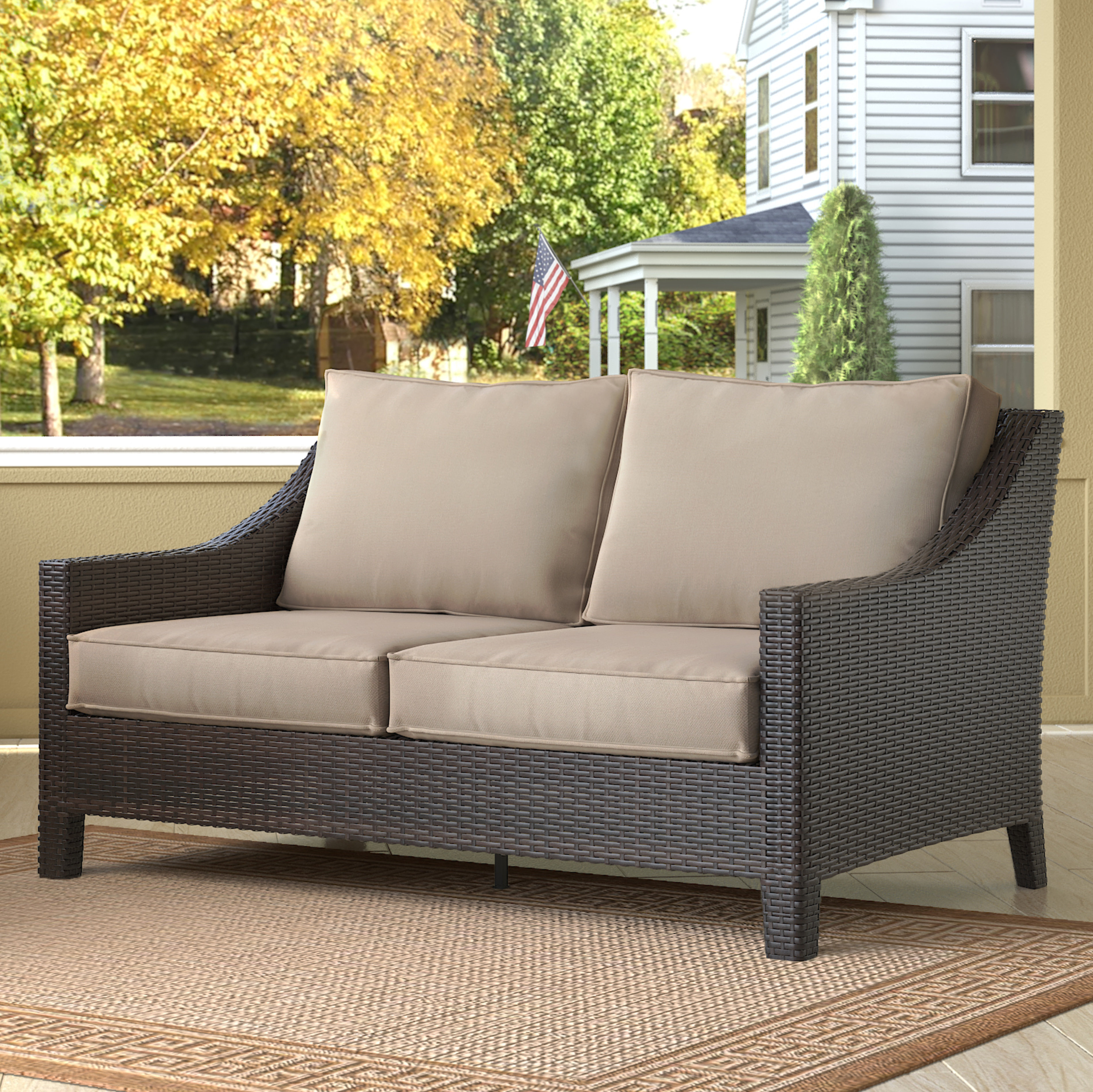 Tahoe Outdoor Wicker Loveseat With Cushions Regarding Best And Newest Loggins Loveseats With Cushions (View 14 of 20)