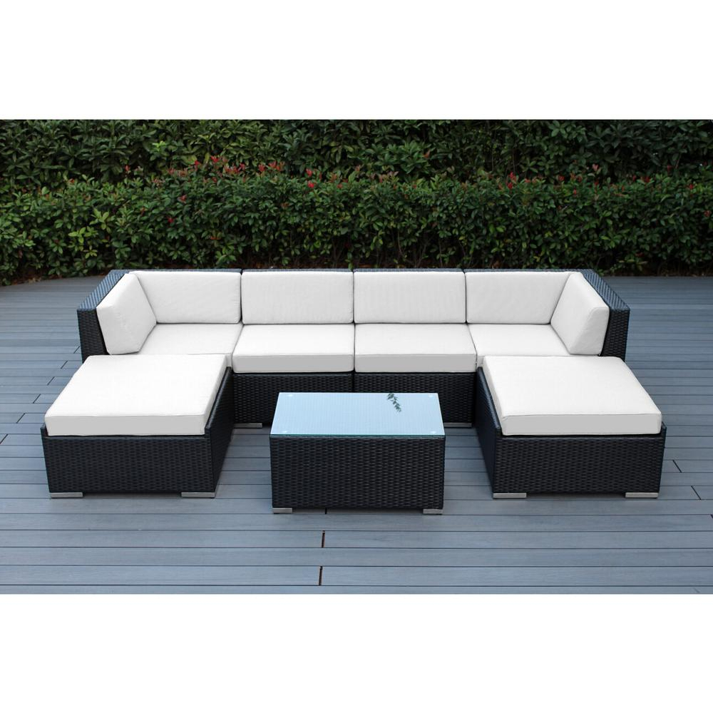 Tess Corner Living Patio Sectionals With Cushions In Famous Ohana Depot Ohana Black 7 Piece Wicker Patio Seating Set With Sunbrella  Natural Cushions (View 14 of 20)