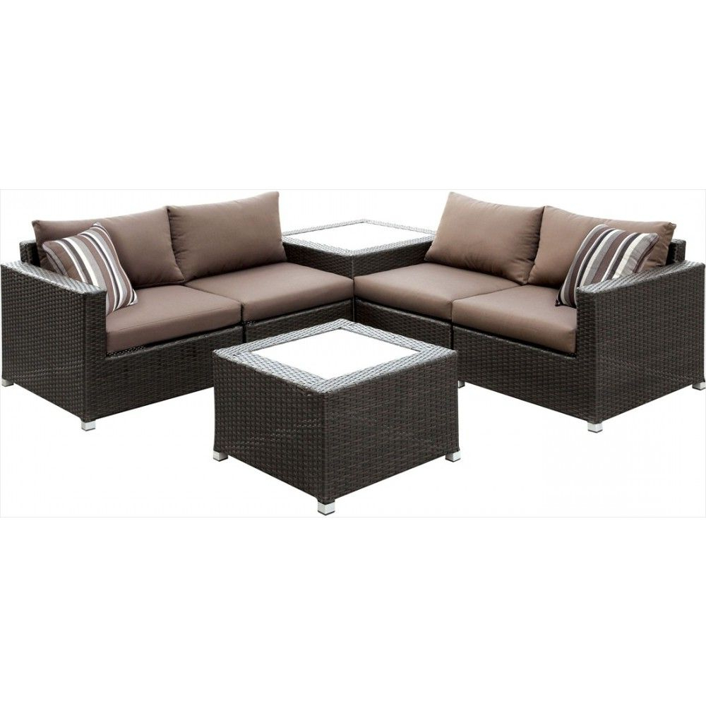 Tess Corner Living Patio Sectionals With Cushions Inside Most Popular Furniture Of America Alago Patio Sectional With Dark Brown (View 20 of 20)