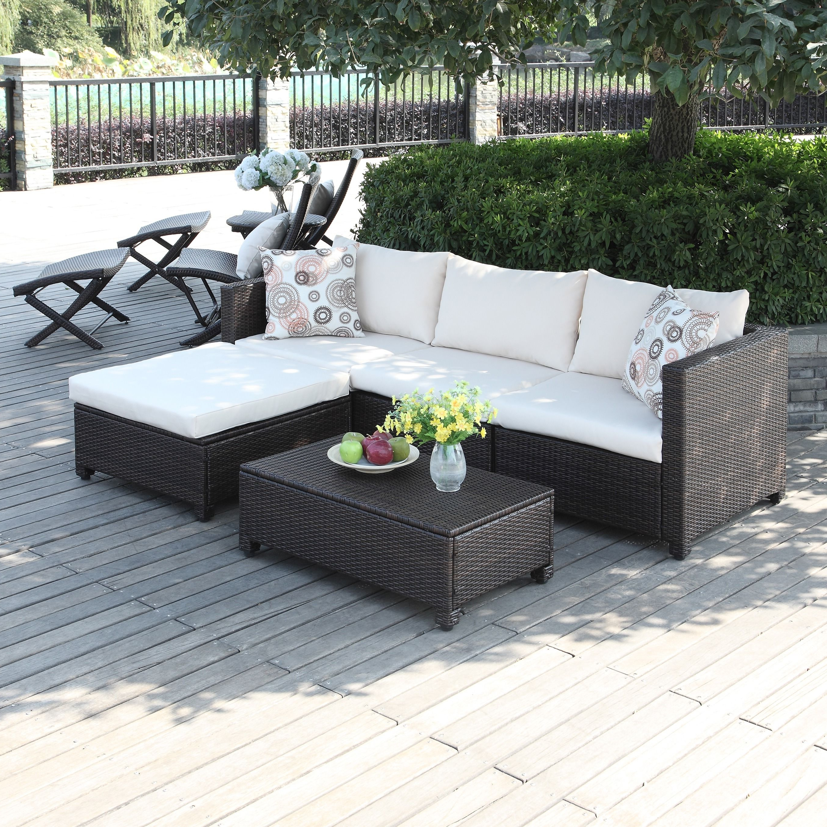 The Portfolio Aldrich 5 Piece Set Features 2 Corner Chairs Within 2020 Stockwell Patio Sofas With Cushions (View 11 of 20)