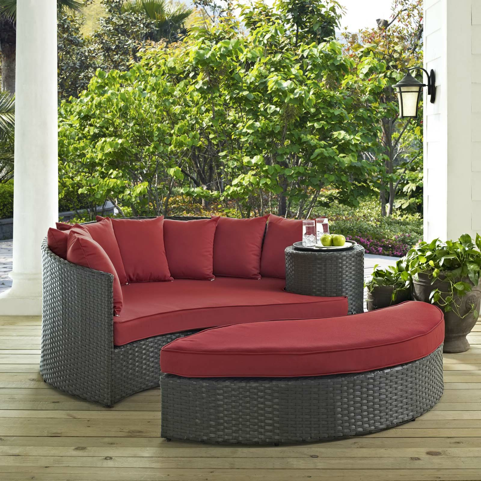 Tiana Patio Daybeds With Cushions Regarding 2019 Tripp Patio Daybed With Cushions (View 8 of 20)