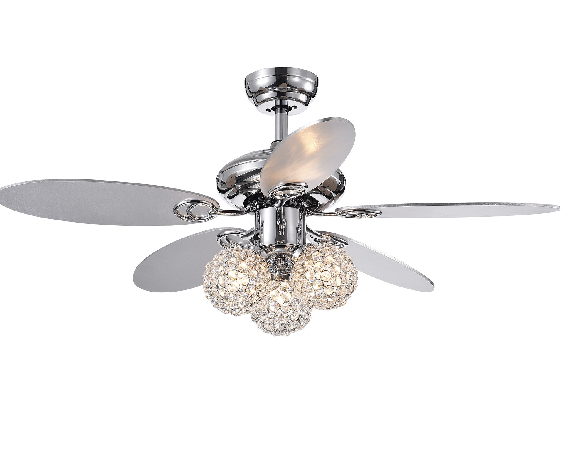 "Tibuh Punched Metal Crystal 5 Blade Ceiling Fans With Remote Intended For Newest 19"" Rosevale 5 Blade Ceiling Fan With Remote (View 14 of 20)"