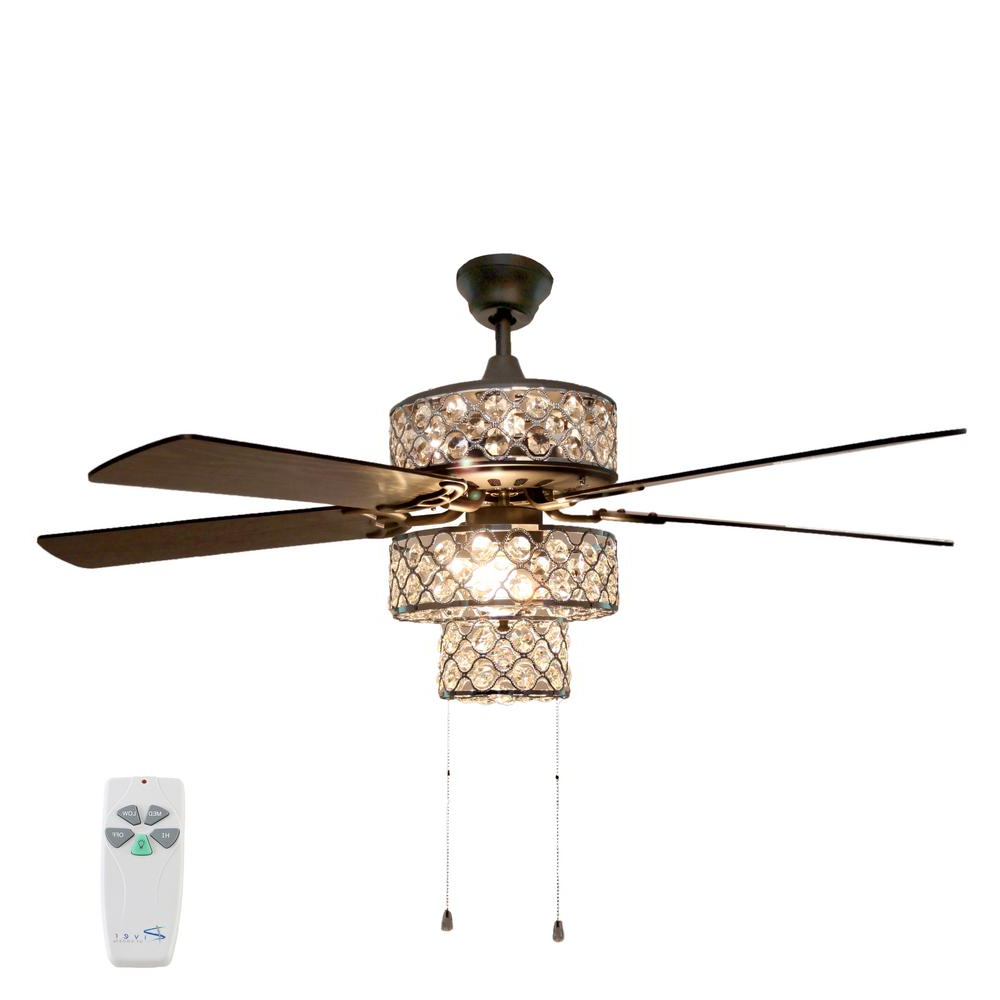 Tibuh Punched Metal Crystal 5 Blade Ceiling Fans With Remote Pertaining To Most Up To Date River Of Goods 52 In (View 15 of 20)