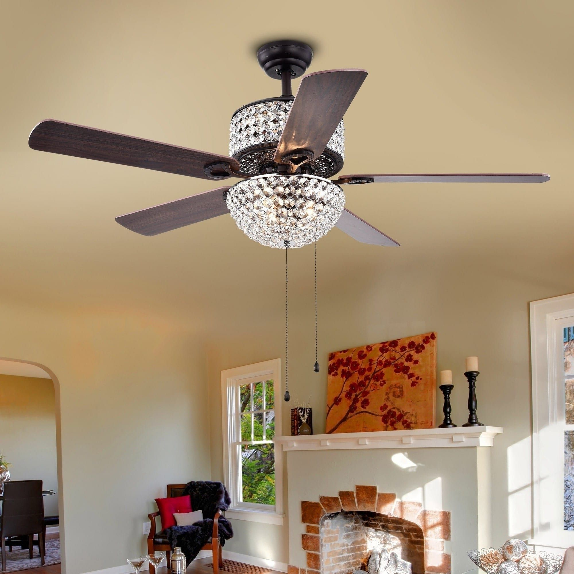 Tibuh Punched Metal Crystal 5 Blade Ceiling Fans With Remote Within Fashionable Warehouse Of Tiffany Laure Crystal 6 Light Crystal 5 Blade (View 16 of 20)