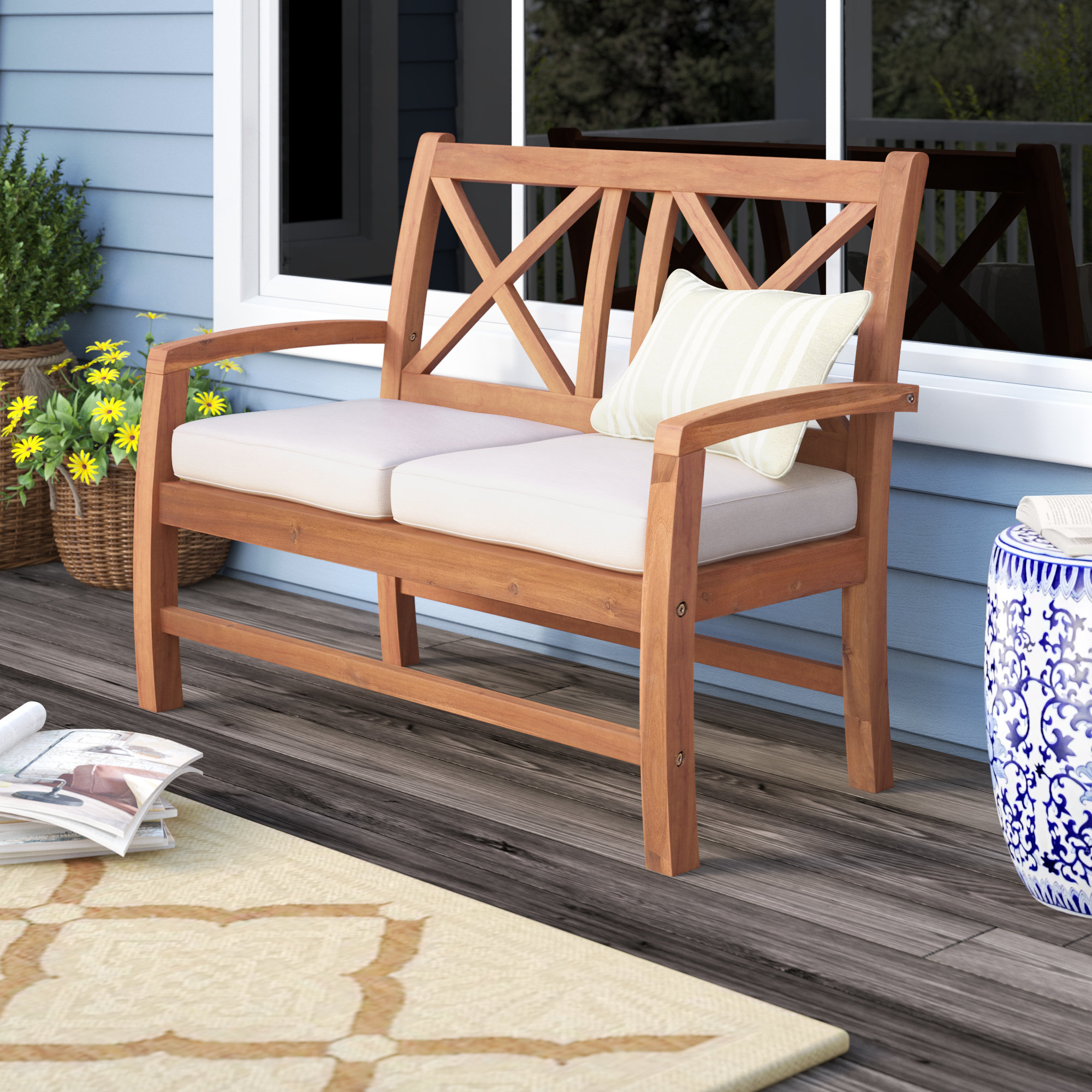 Tim X Back Patio Loveseat With Cushions For Famous Calila Teak Loveseats With Cushion (View 19 of 20)