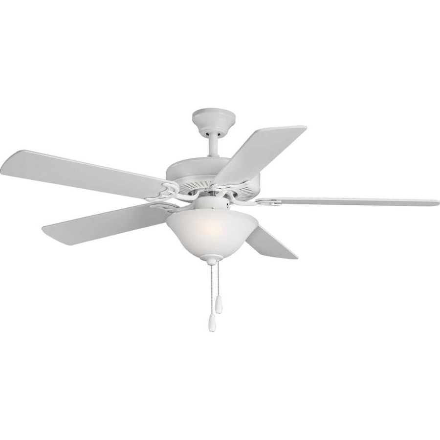 Timeless 5 Blade Ceiling Fans Throughout Trendy Progress Lighting Builder Fan 52 In White Indoor Ceiling Fan (View 13 of 20)