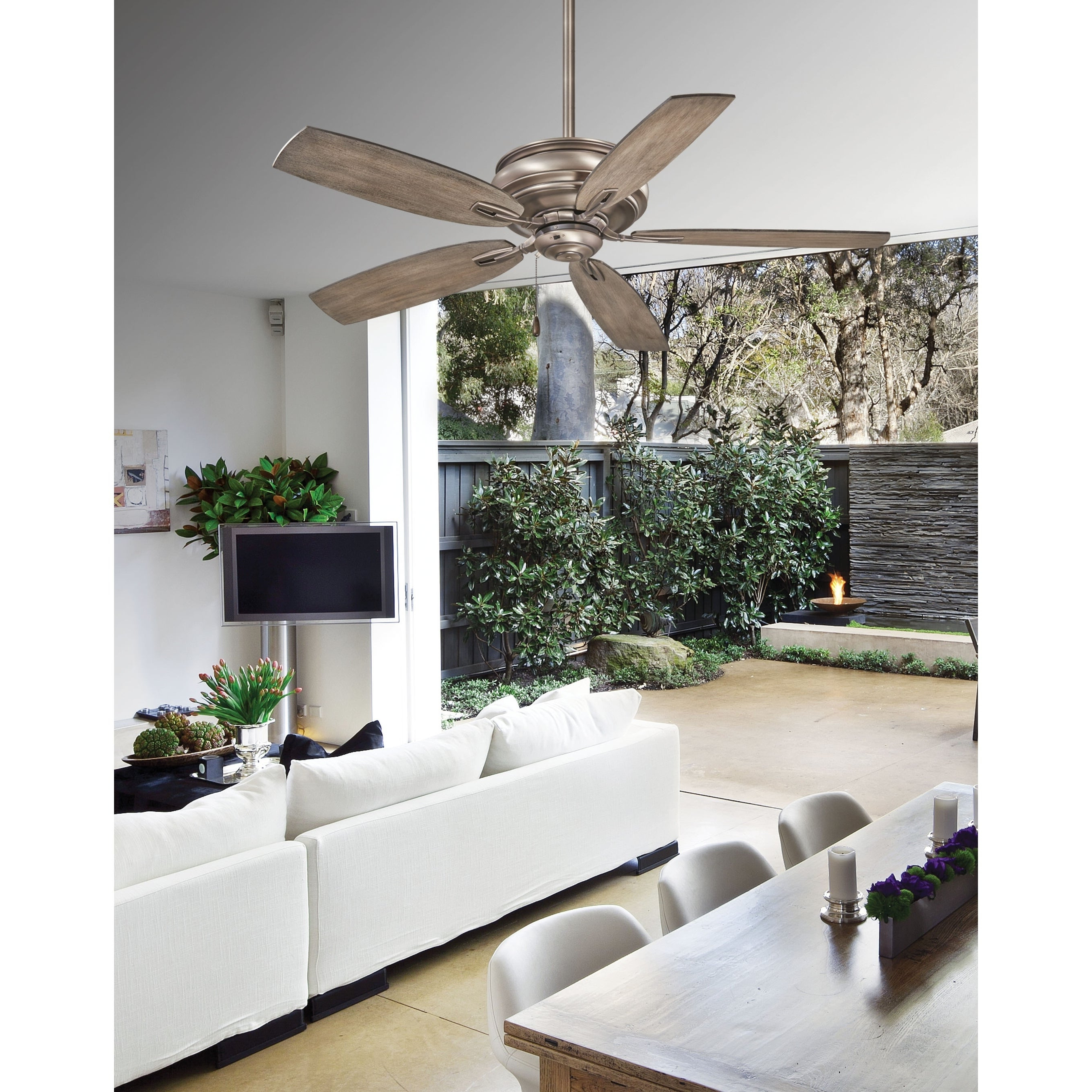 Timeless 5 Blade Ceiling Fans Within Famous Timeless Ceiling Fan In Burnished Nickel Finish W/ Seashore Grey Blades Minka Aire – N/a (View 7 of 20)