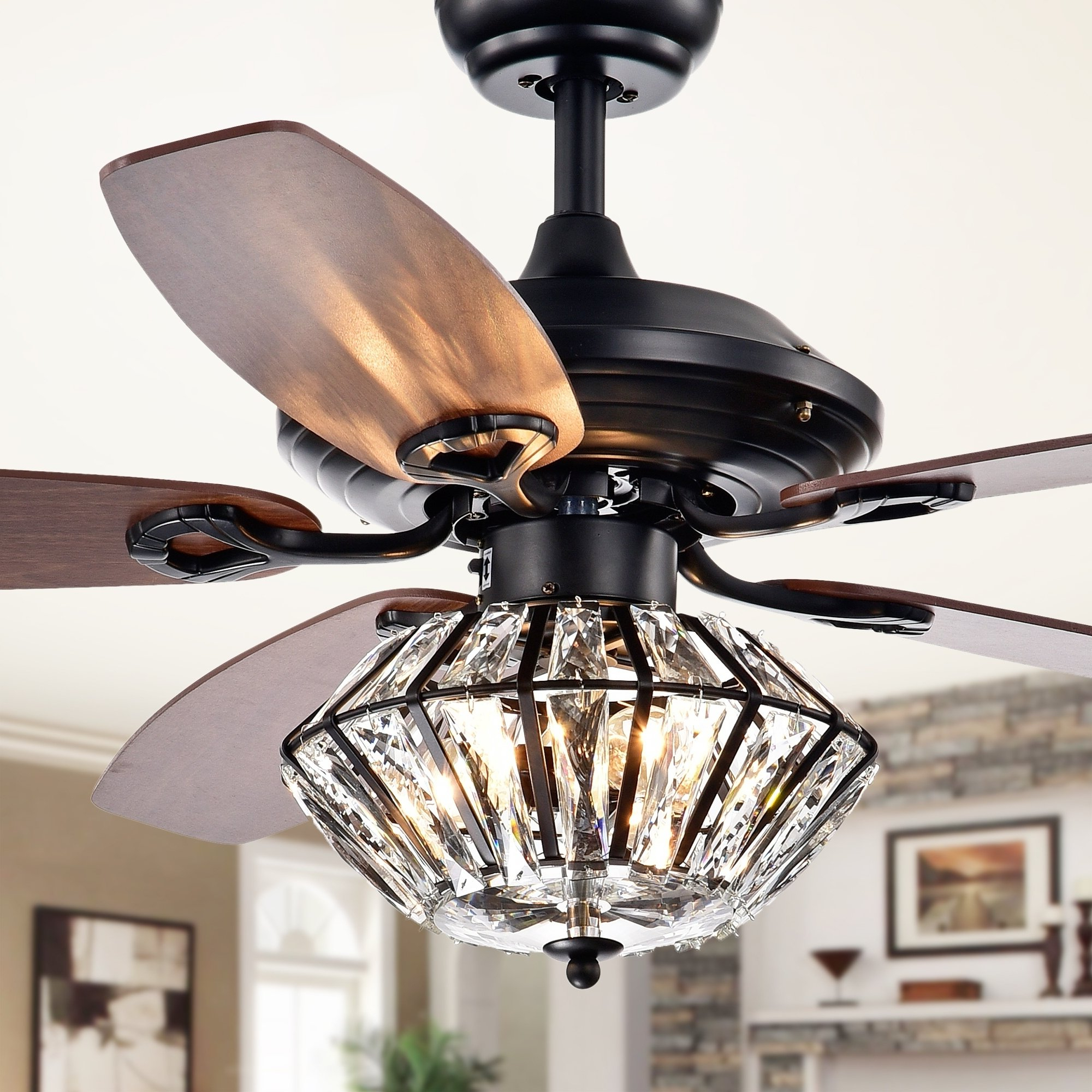 Toshevo Remote Control 52 Inch Lighted Ceiling Fan With Inside Fashionable Caged Crystal 5 Blade Ceiling Fans (View 19 of 20)