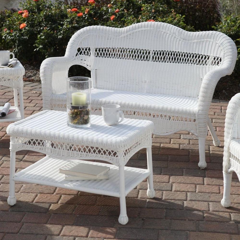 Trendy All Weather Wicker Loveseat Sofa Resin Outdoor Patio Garden Inside Karan Wicker Patio Loveseats (View 15 of 20)
