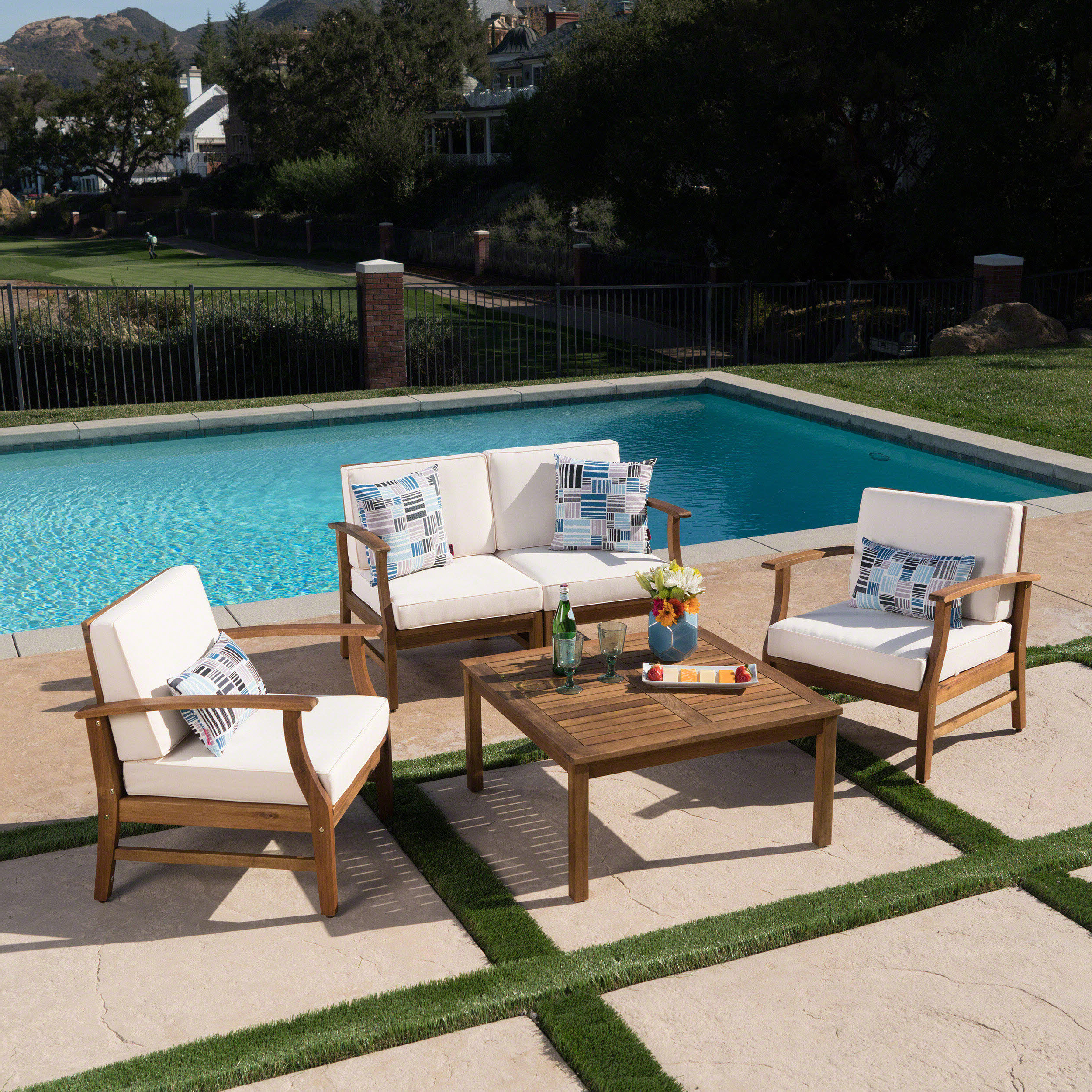 Trendy Antonia Teak Patio Sectionals With Cushions Pertaining To Antonia 4 Piece Sofa Set With Cushions (View 16 of 25)