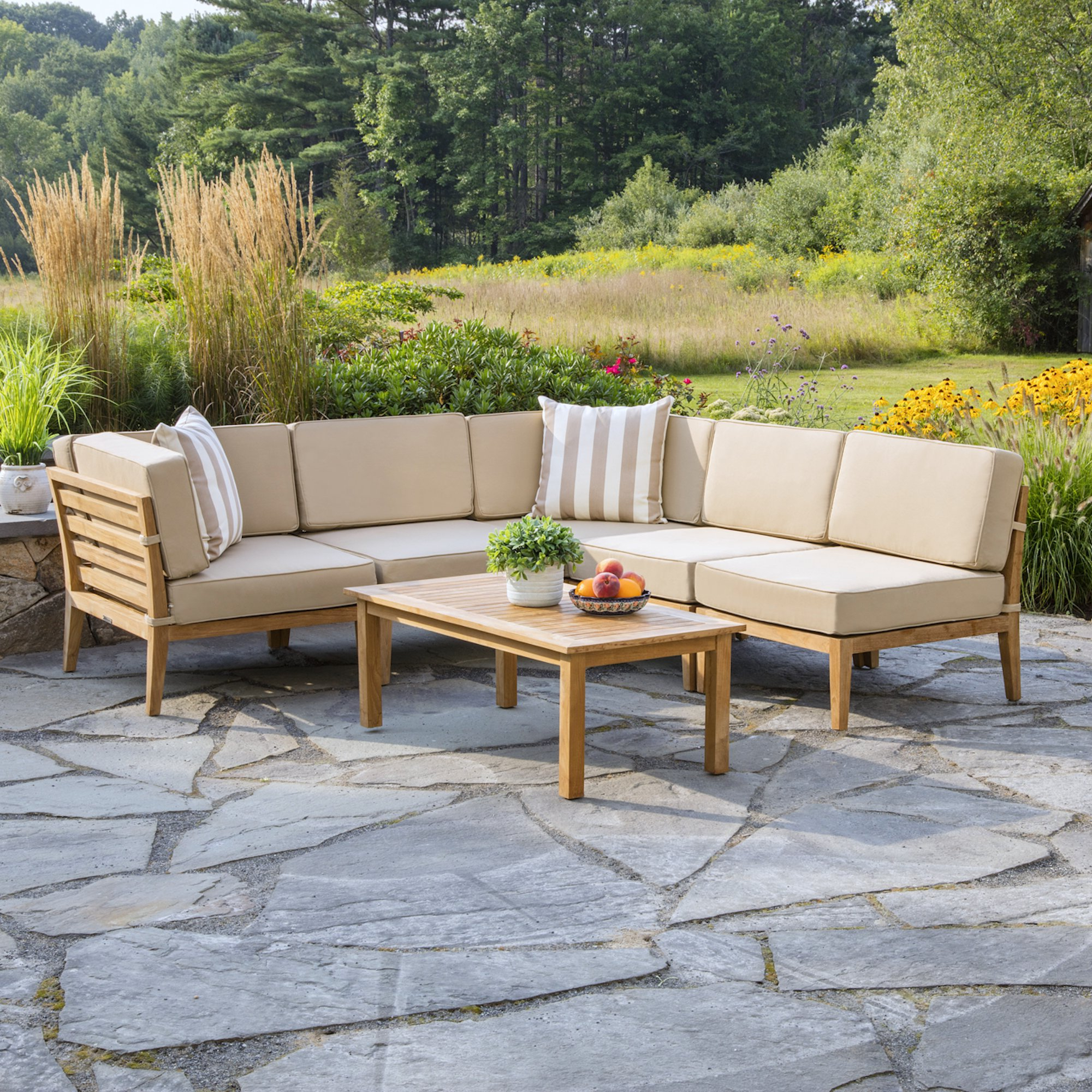 Trendy Bali 6 Piece Teak Sectional Set With Cushions With Regard To Antonia Teak Patio Sectionals With Cushions (View 23 of 25)