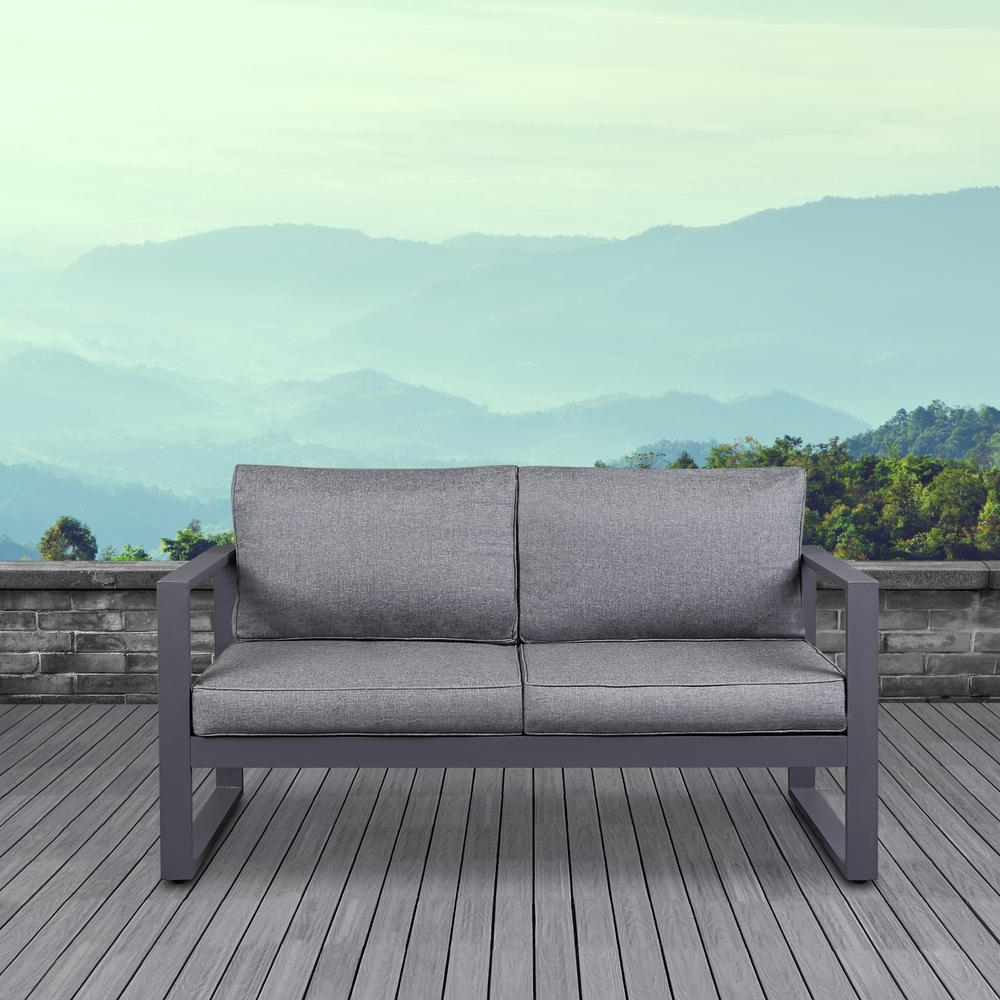 Trendy Baltic Patio Sofas With Cushions Pertaining To Real Flame Baltic Gray Powder Coated Aluminum Outdoor Loveseat With Gray Cushions (View 15 of 25)