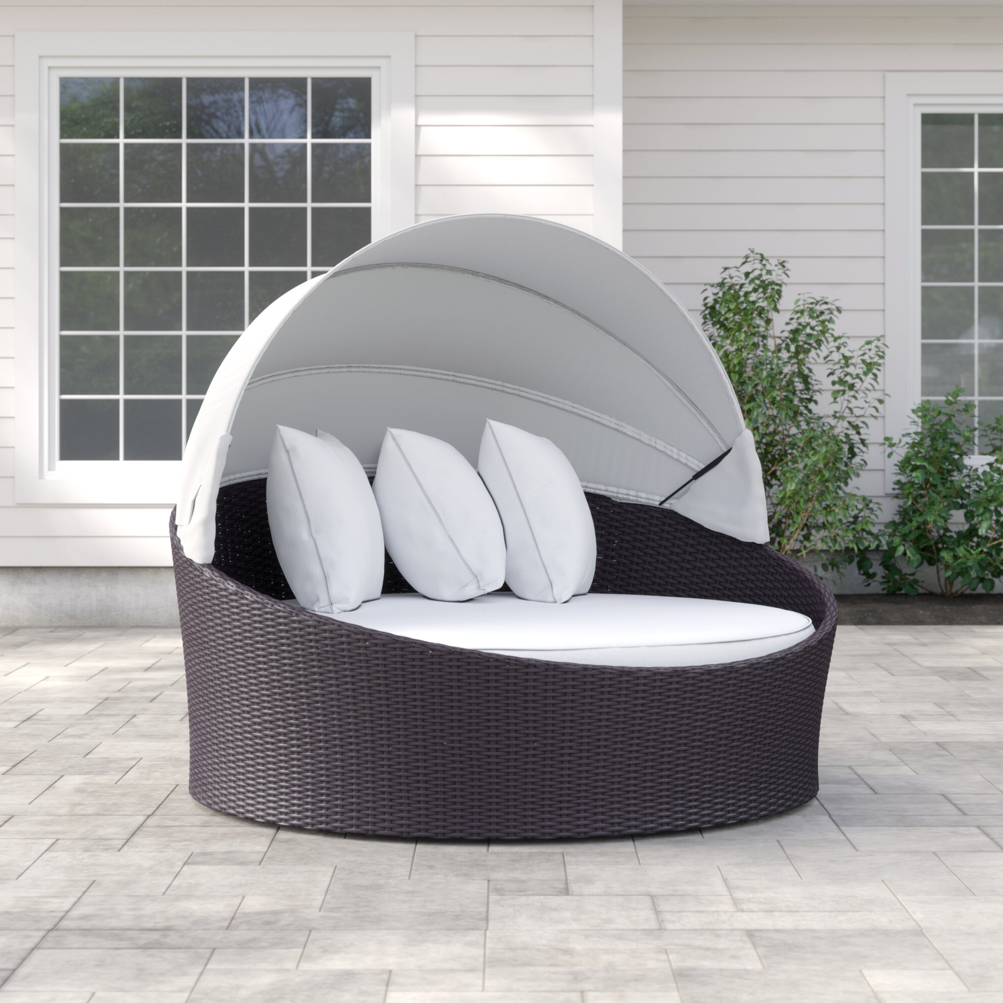 Trendy Brentwood Canopy Patio Daybed With Cushions Intended For Fansler Patio Daybeds With Cushions (View 19 of 20)