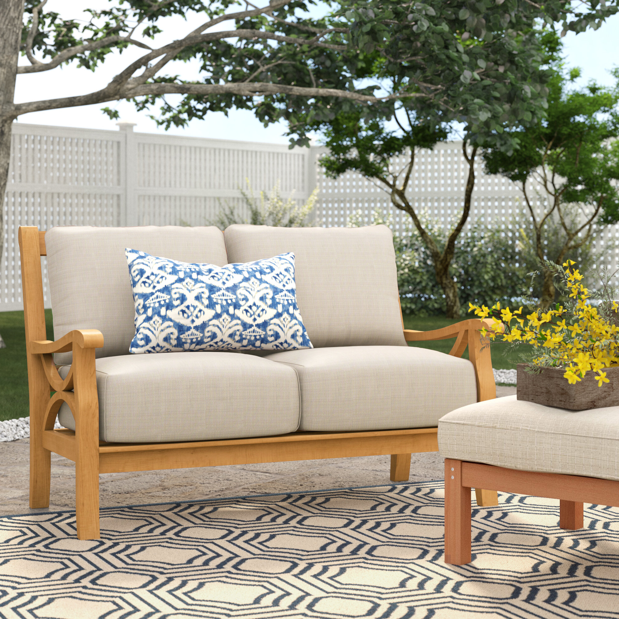 Trendy Brunswick Teak Loveseat With Cushions In Elaina Teak Loveseats With Cushions (View 4 of 20)