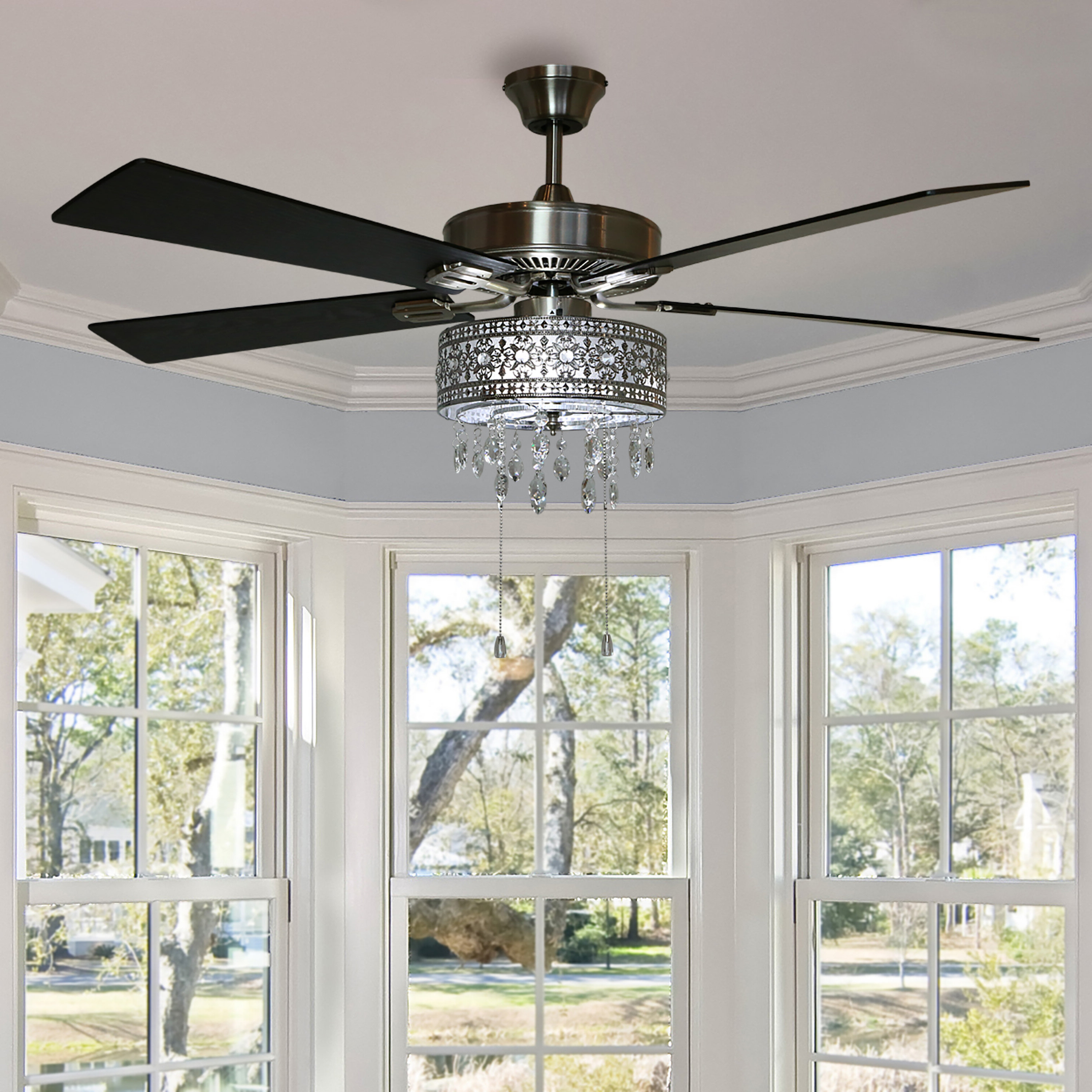"Trendy Caged Crystal 5 Blade Ceiling Fans Within 52"" Noyes Crystal 5 Blade Ceiling Fan With Remote, Light Kit Included (View 20 of 20)"