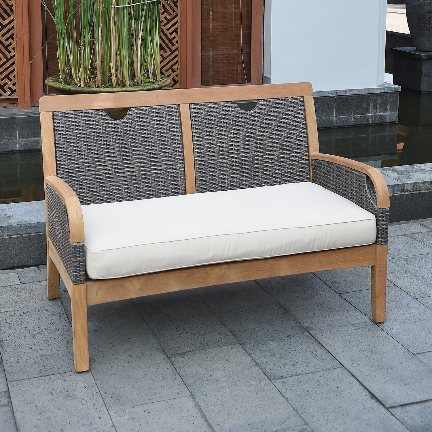 Trendy Calila Teak Loveseats With Cushion Pertaining To Mansfield Teak Loveseat With Cushion (View 2 of 20)