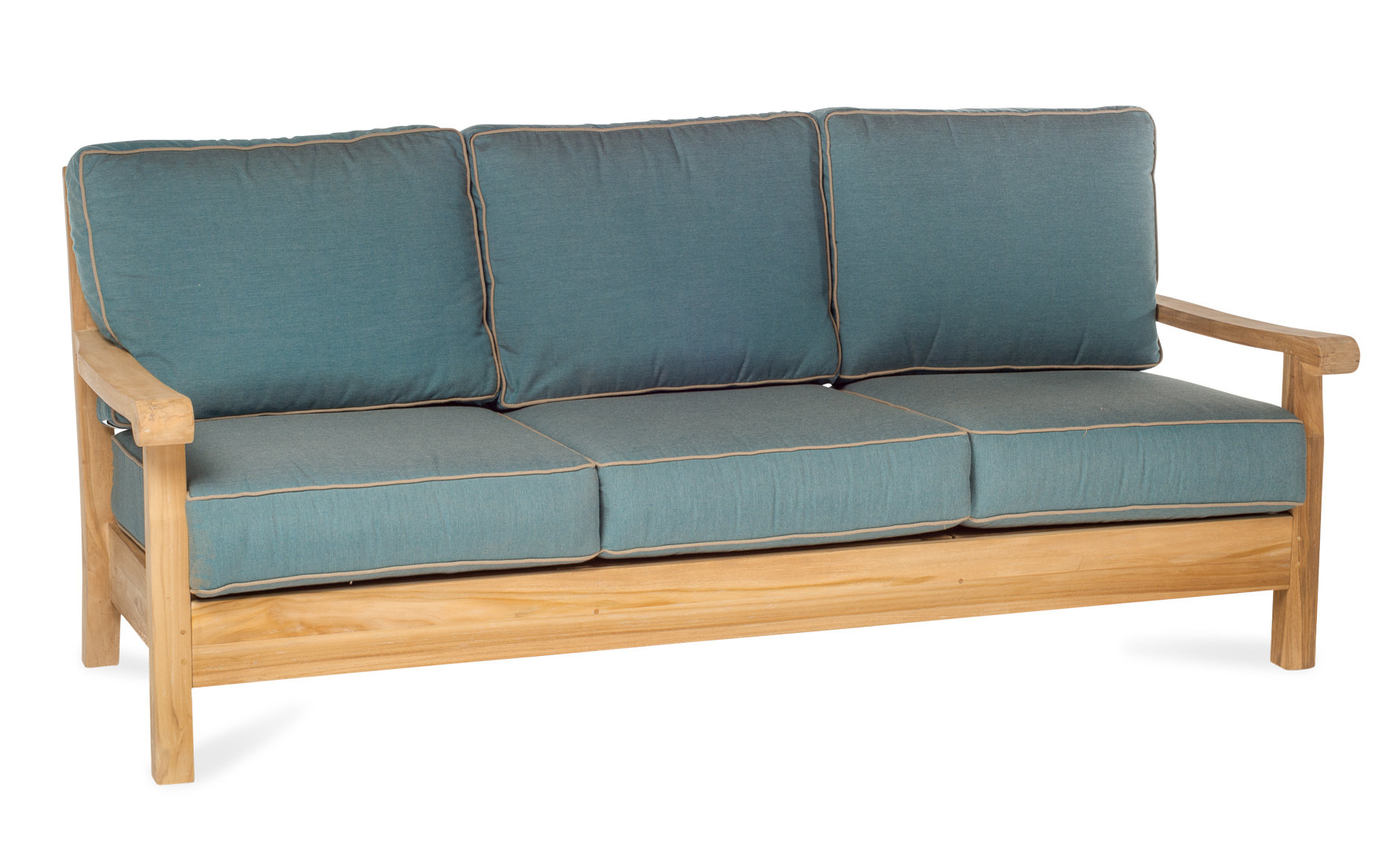 Trendy Chasity Teak Patio Sofa With Sunbrella Cushion With Mansfield Teak Loveseats With Cushion (View 19 of 20)