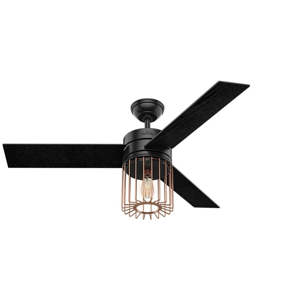 "Trendy Cranbrook 4 Blade Ceiling Fans In 52"" Ronan 3 Blade Ceiling Fan With Remote, Light Kit Included (View 11 of 20)"