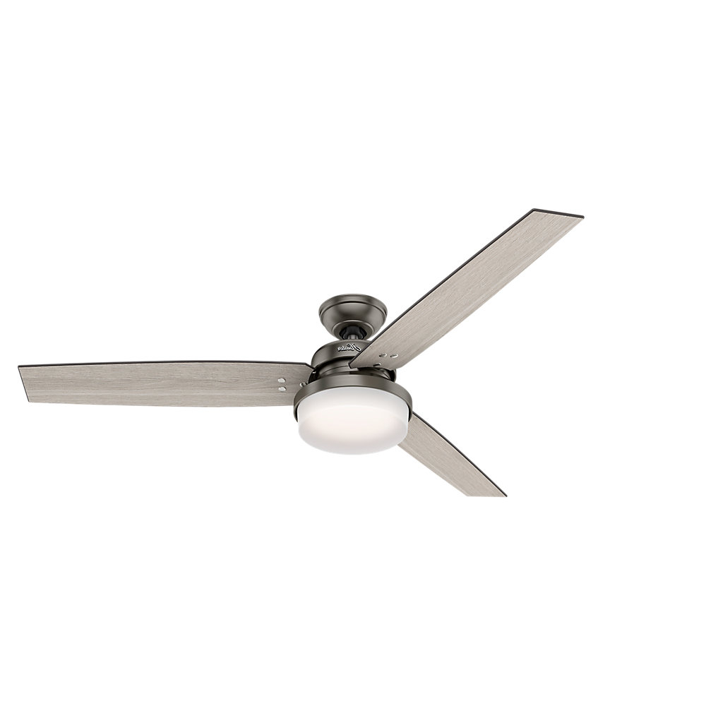 "Trendy Hunter Fan 60"" Sentinel 3 Blade Ceiling Fan With Remote Light Kit Included Inside Cassius 3 Blade Outdoor Ceiling Fans (View 18 of 20)"