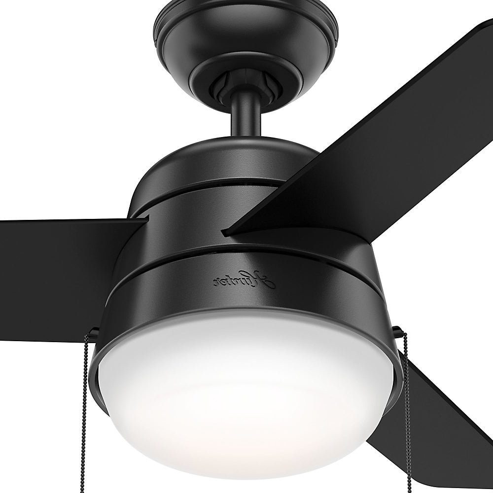 Trendy Hunter Fan Aker Matte Black 36 Inch Ceiling Fan Throughout Aker 3 Blade Led Ceiling Fans (View 18 of 20)