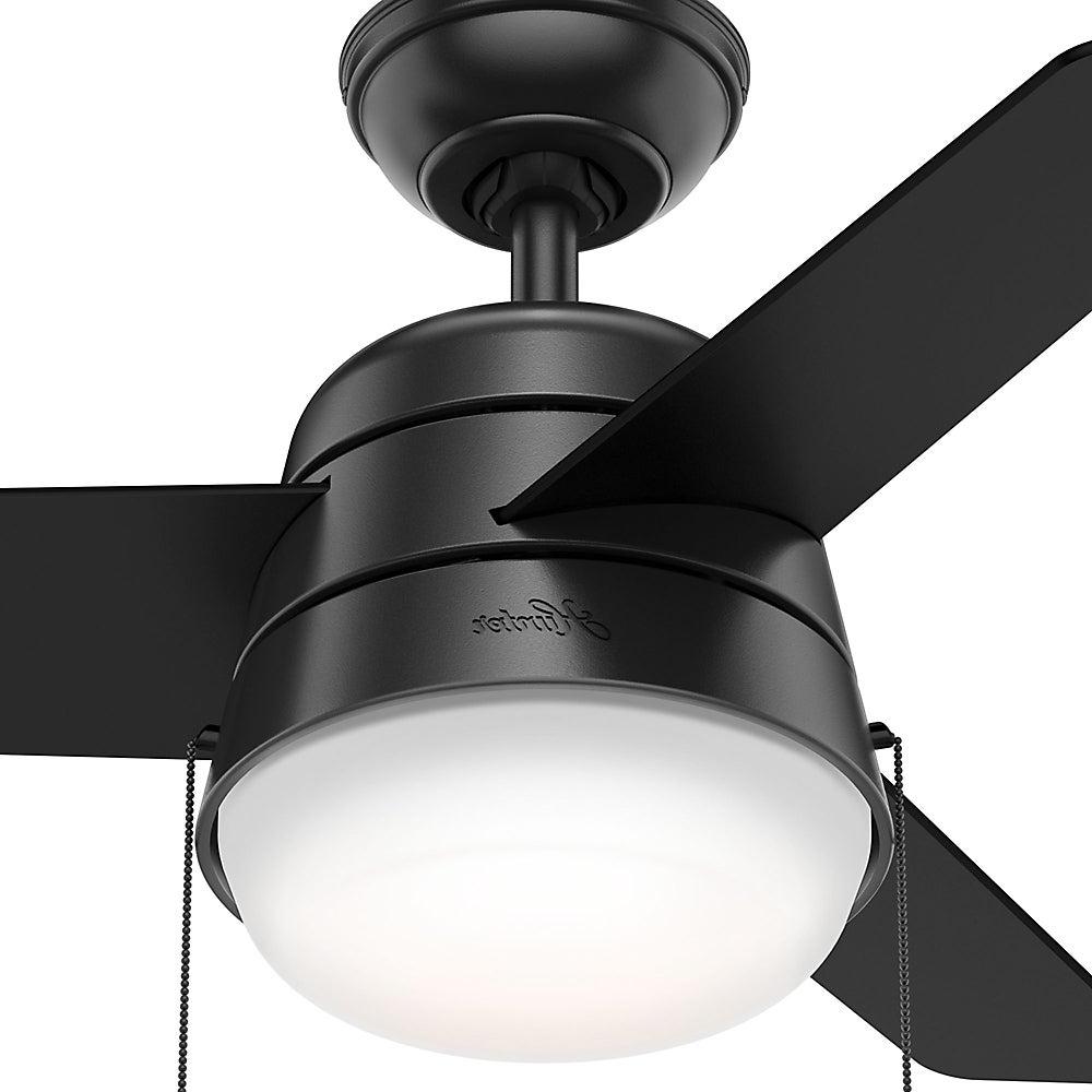 Trendy Hunter Fan Aker Matte Black 36 Inch Ceiling Fan Throughout Aker 3 Blade Led Ceiling Fans (View 11 of 20)