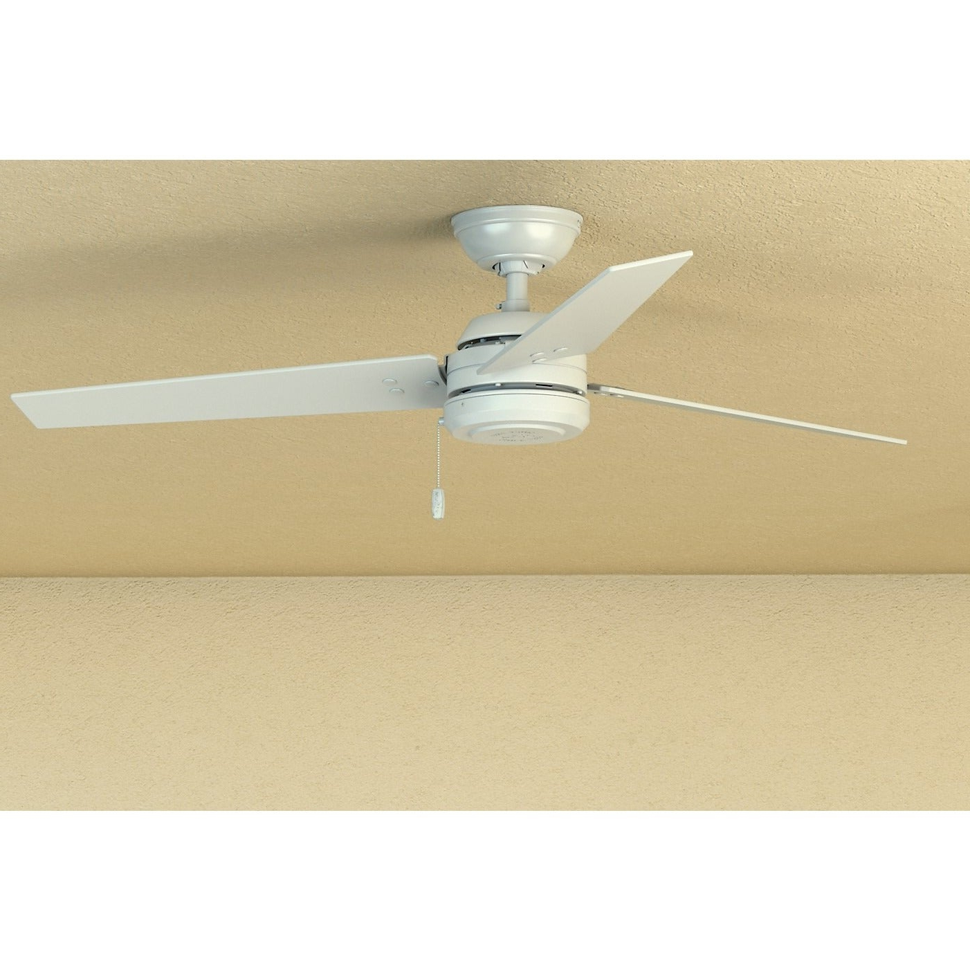 Trendy Hunter Fan Cassius Fresh White Stainless Steel 52 Inch Ceiling Fan With 3  Reversible Blades With Cassius 3 Blade Outdoor Ceiling Fans (View 19 of 20)