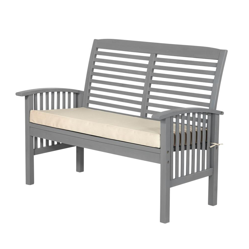 Trendy Lakeland Teak Loveseats With Cushions Intended For Walker Edison Furniture Company Boardwalk 48 In (View 17 of 20)