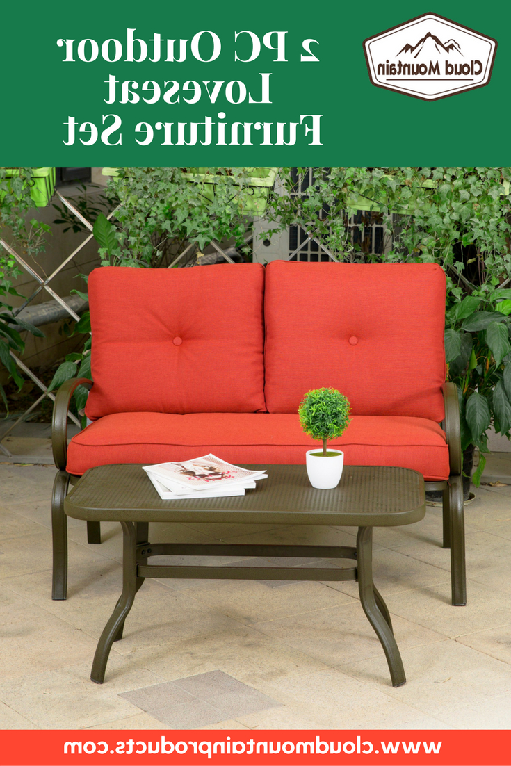 Trendy Laverton Loveseats With Cushions Inside Outdoor Bistro Set Garden Patio Furniture Cafe Table (View 18 of 20)