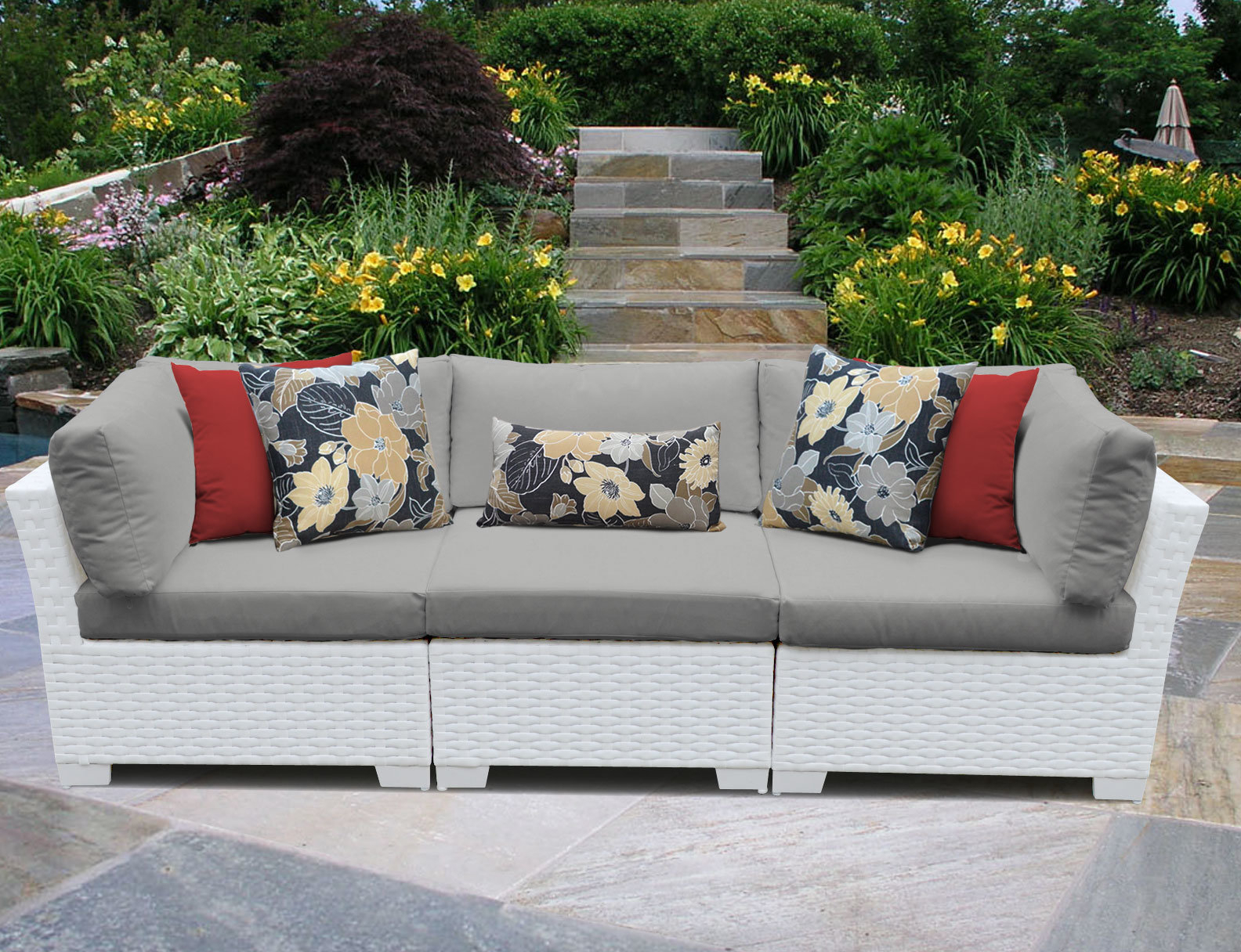 Trendy Loggins Patio Sofas With Cushions Pertaining To Monaco Patio Sofa With Cushions (View 8 of 20)