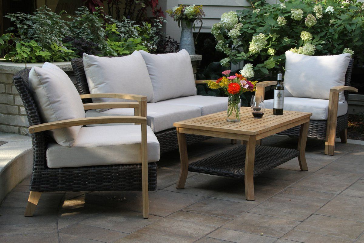 Trendy Mansfield Teak Loveseats With Cushion In Halesworth Wicker Teak Sofa Seating Group With Sunbrella (View 20 of 20)