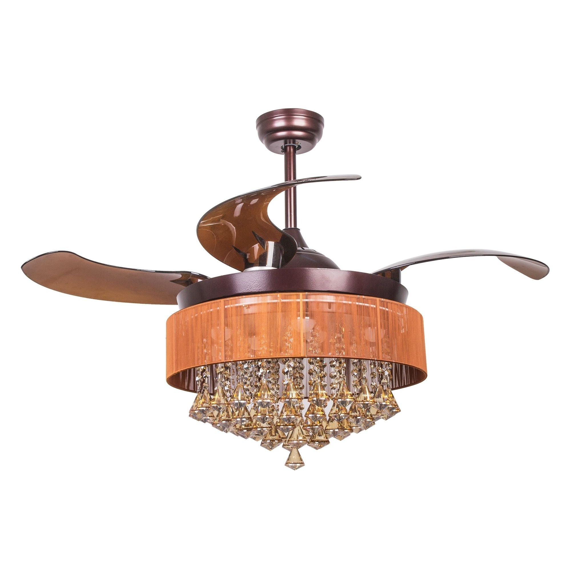 Trendy Napoli 5 Blade Led Ceiling Fans Regarding Modern Crystal Led Ceiling Fan With Foldable Blades, Oil Rubbed Bronze (View 18 of 20)