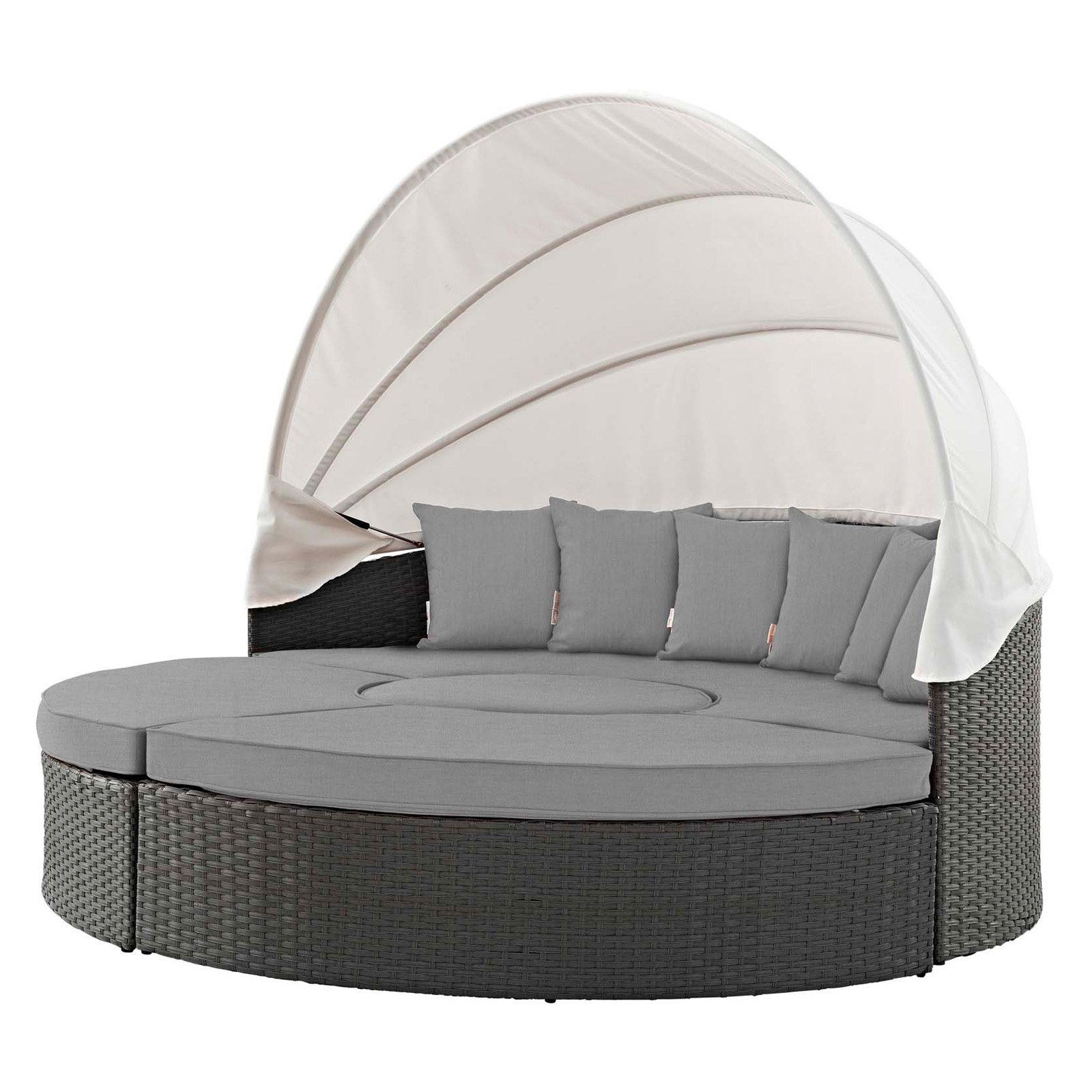 Trendy Outdoor Modway Sojourn Wicker Patio Daybed With Canopy With Within Harlow Patio Daybeds With Cushions (View 15 of 20)