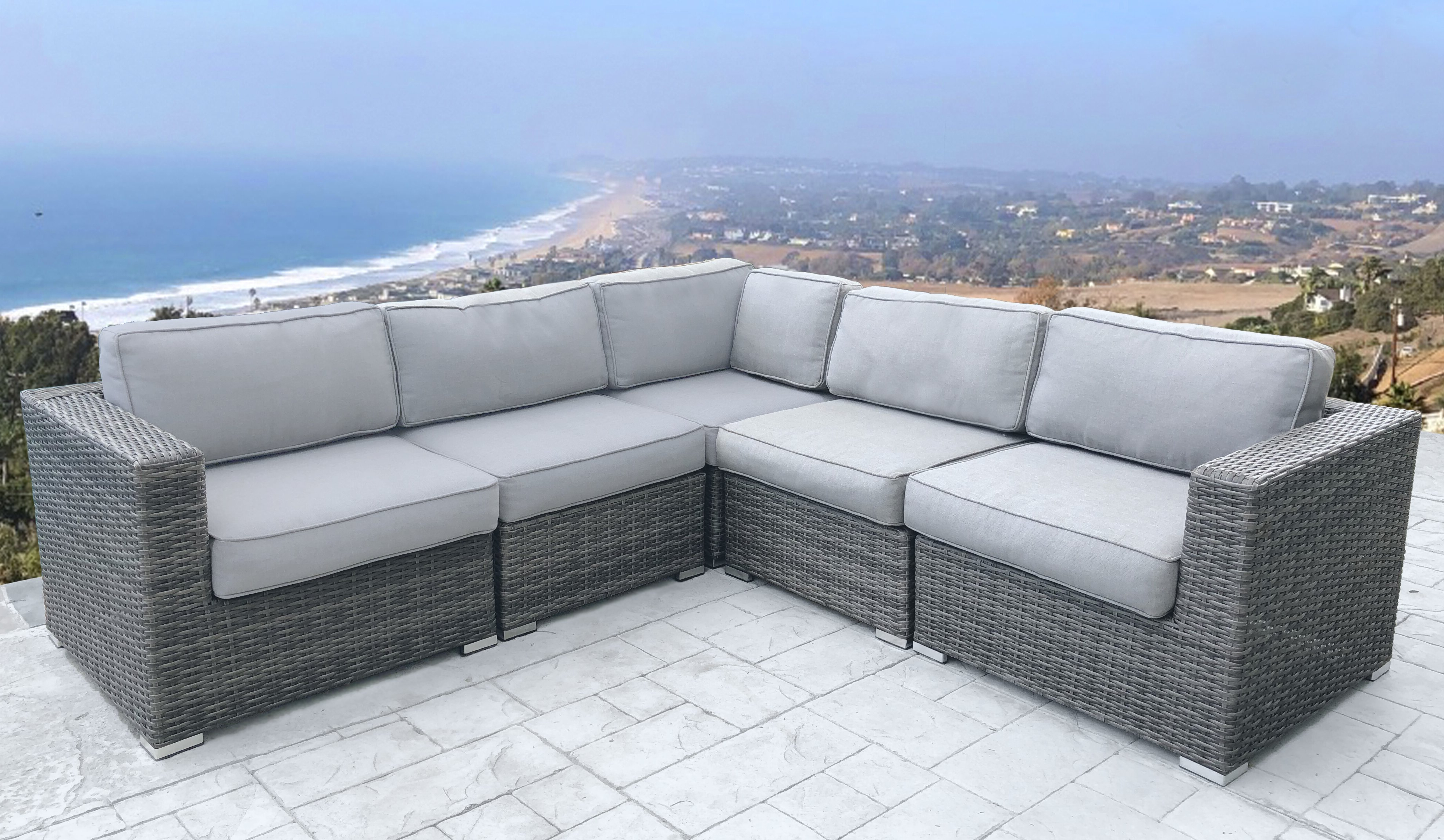 Trendy Rowley Patio Sofas Set With Cushions Throughout Nolen Patio Sectional With Cushions (View 18 of 20)