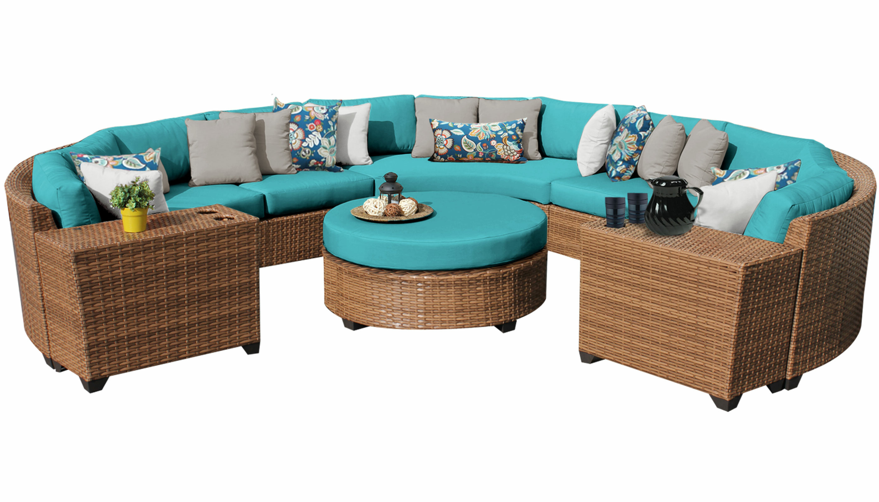 Trendy Waterbury 7 Piece Rattan Sectional Set With Cushions Regarding Waterbury Curved Armless Sofa With Cushions (View 12 of 20)