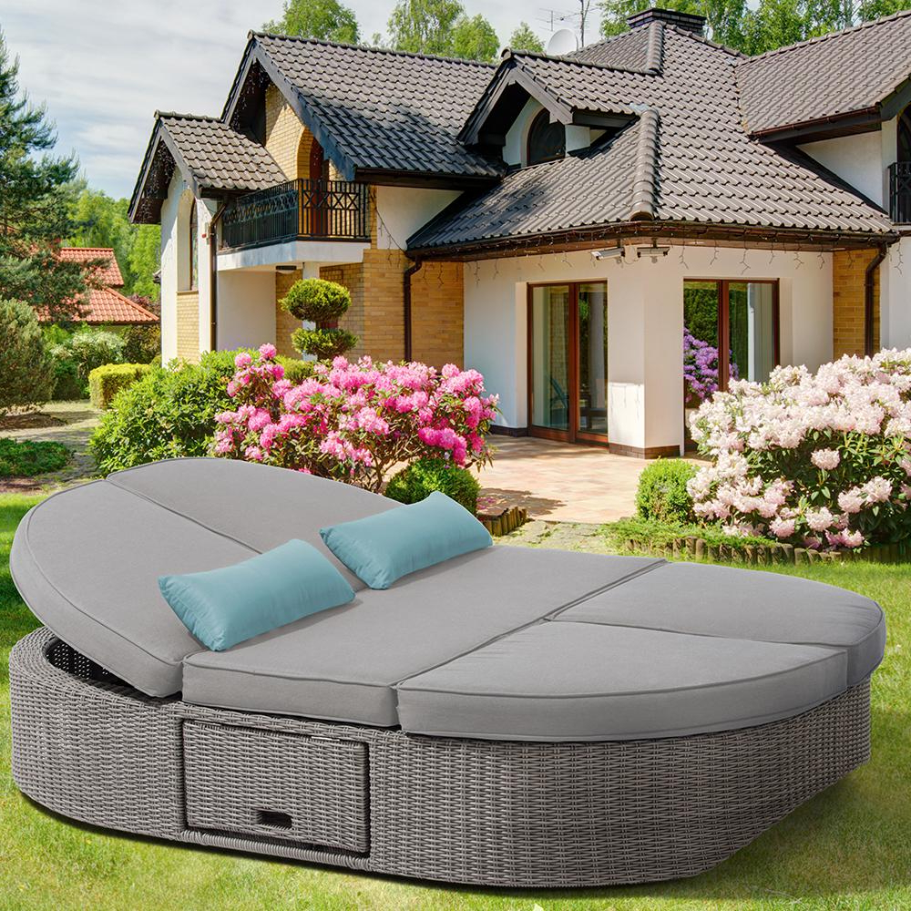 Tripp Patio Daybeds With Cushions In Well Known Ove Decors Sandra 1 Piece Aluminum Outdoor Day Bed With Gray (View 16 of 20)