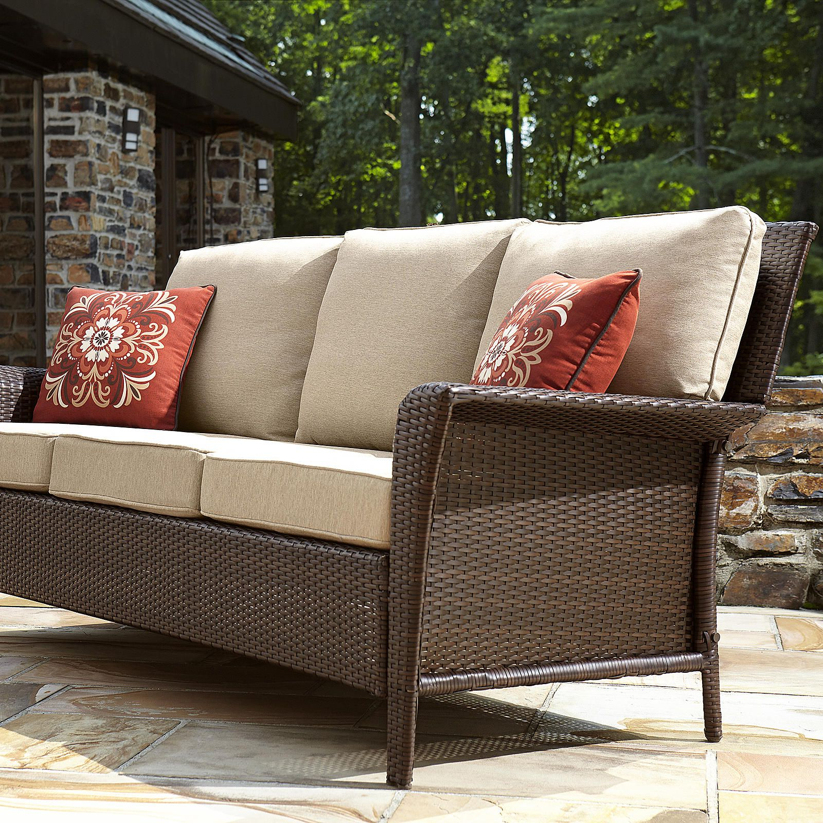 Ty Pennington Style Parkside 3 Seat Sofa – Outdoor Living Pertaining To Favorite Loggins Patio Sofas With Cushions (View 19 of 20)