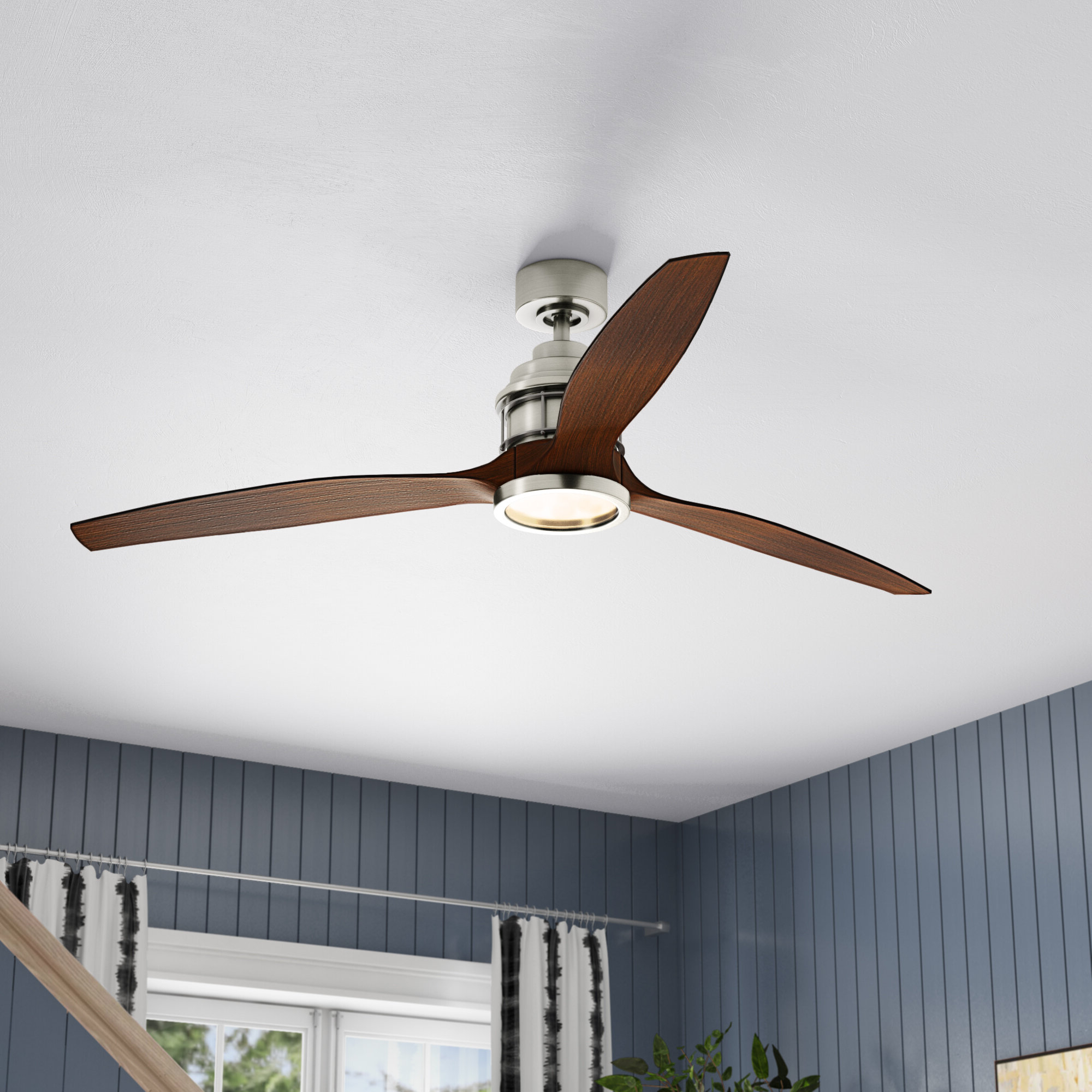 "Tyree 3 Blade Ceiling Fans Inside Most Recent 60"" Harmoneyq 3 Blade Ceiling Fan With Remote (View 5 of 20)"